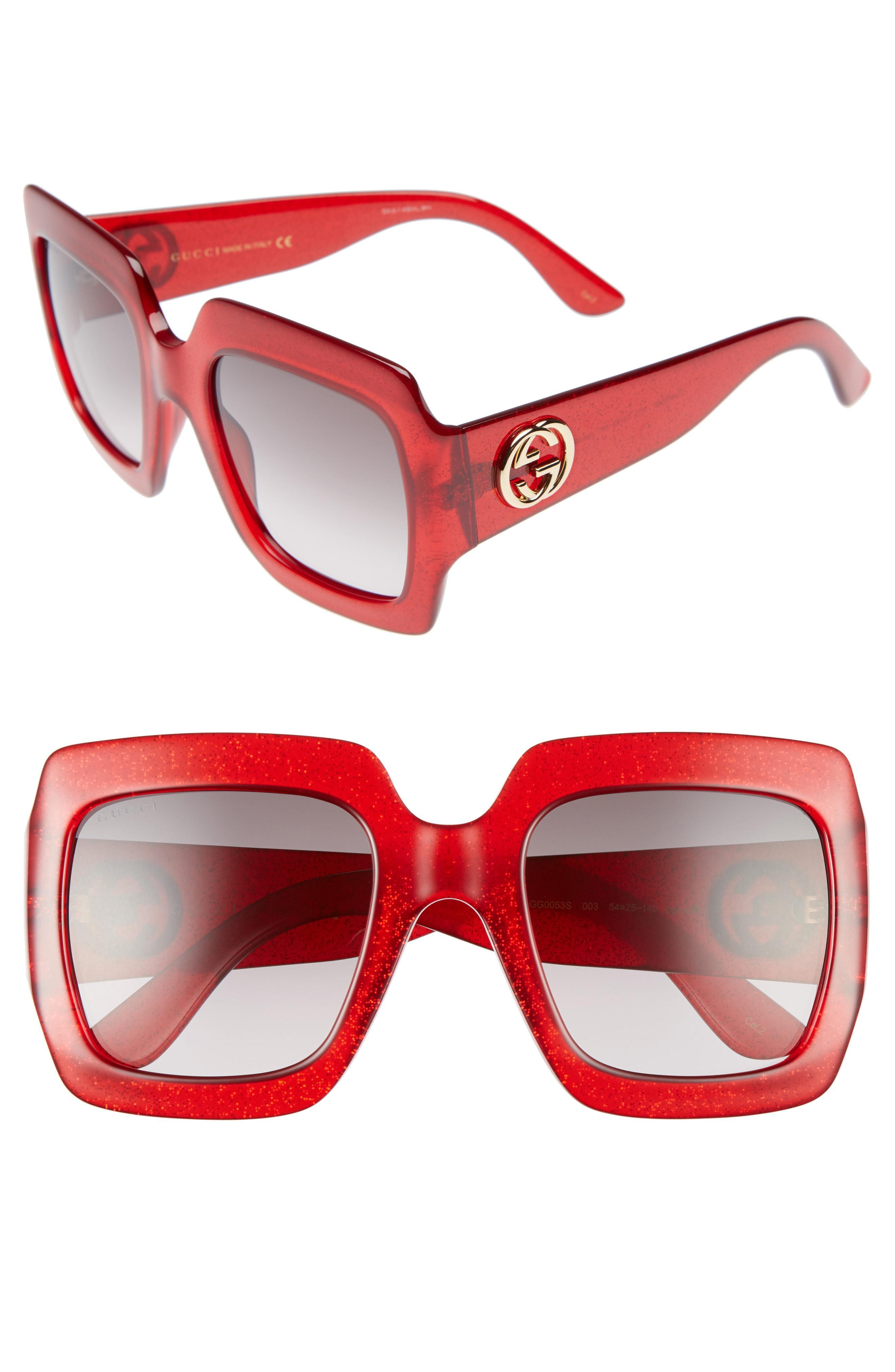 54579df5d4b Lyst - Gucci 54mm Square Sunglasses in Red