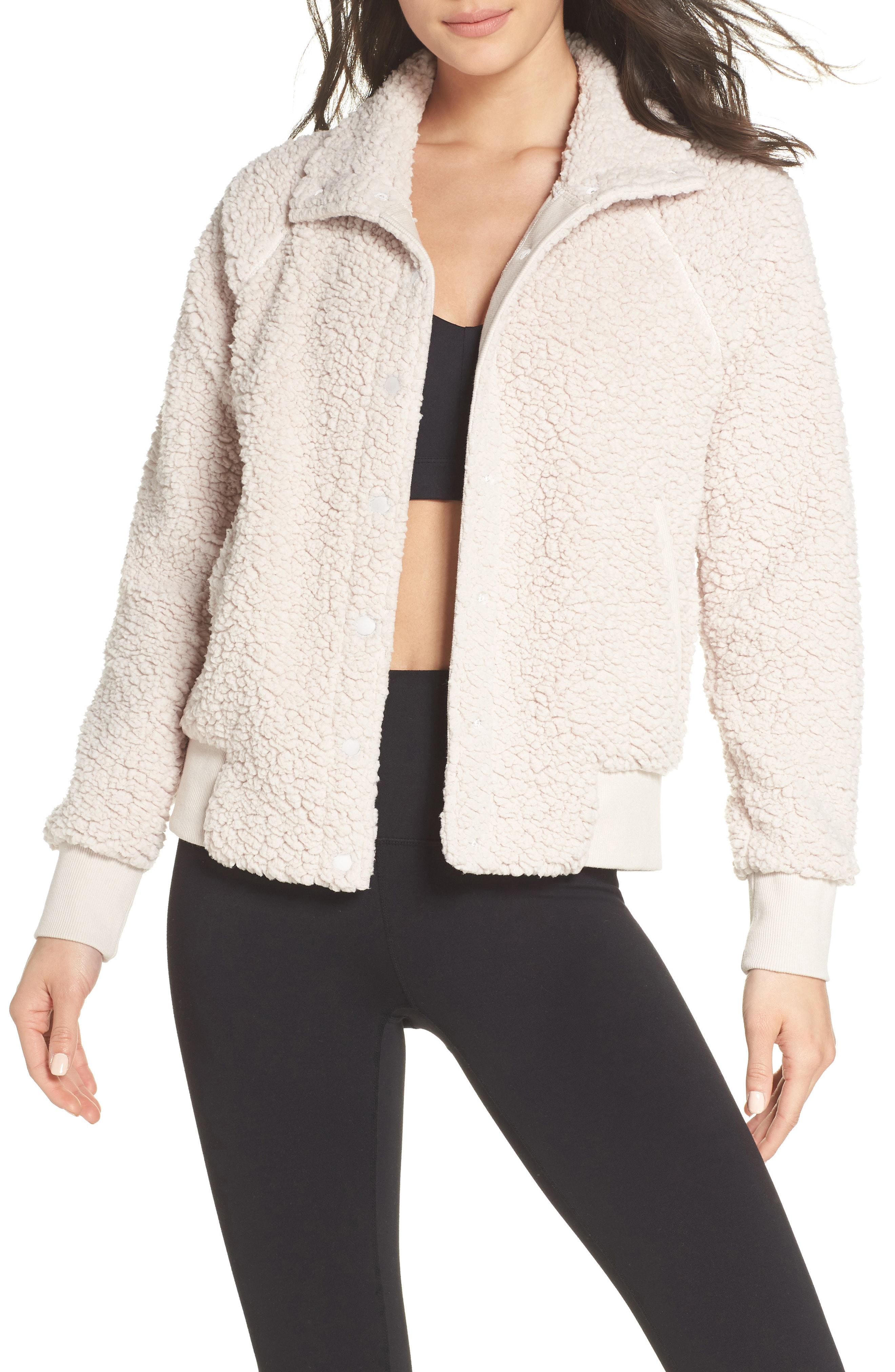 d32fe912064c Lyst - Zella Cozy Up Bomber Jacket in Natural