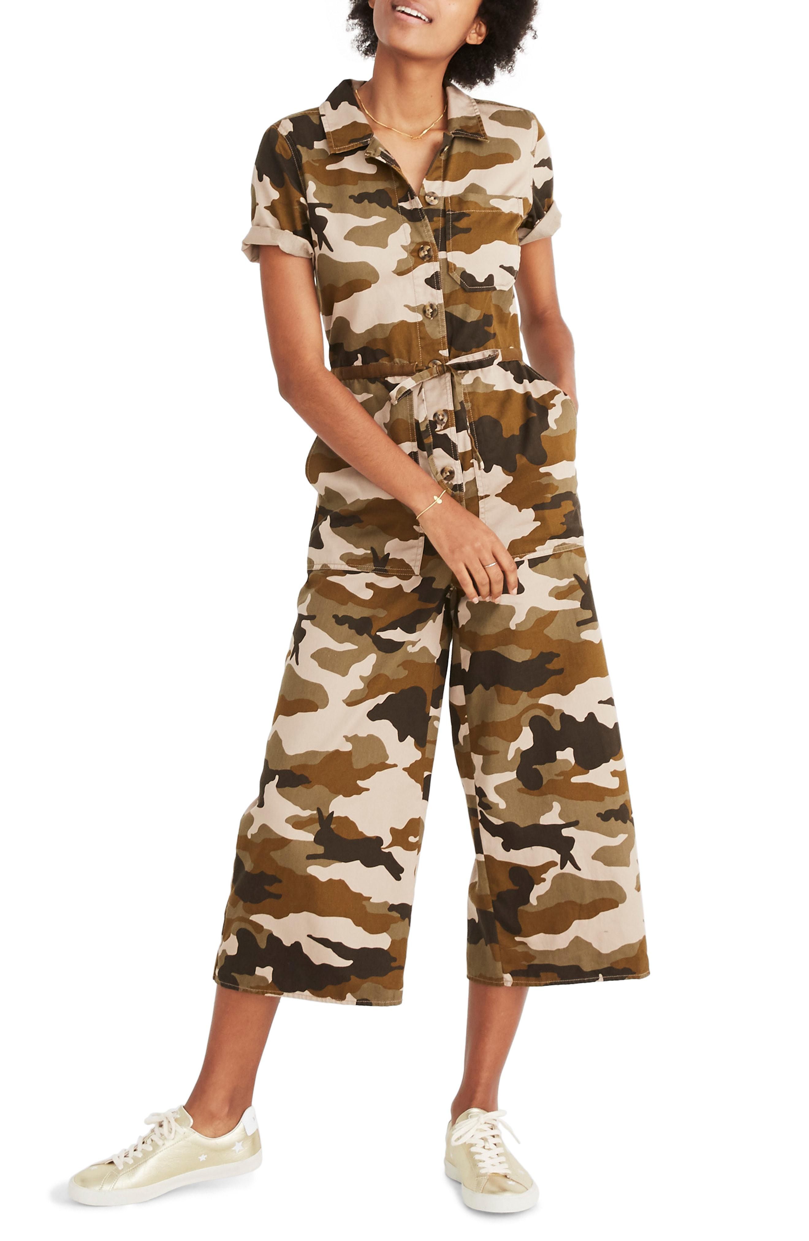 a5c5515ba02f Lyst - Madewell Camo Wide Leg Utility Jumpsuit in Green