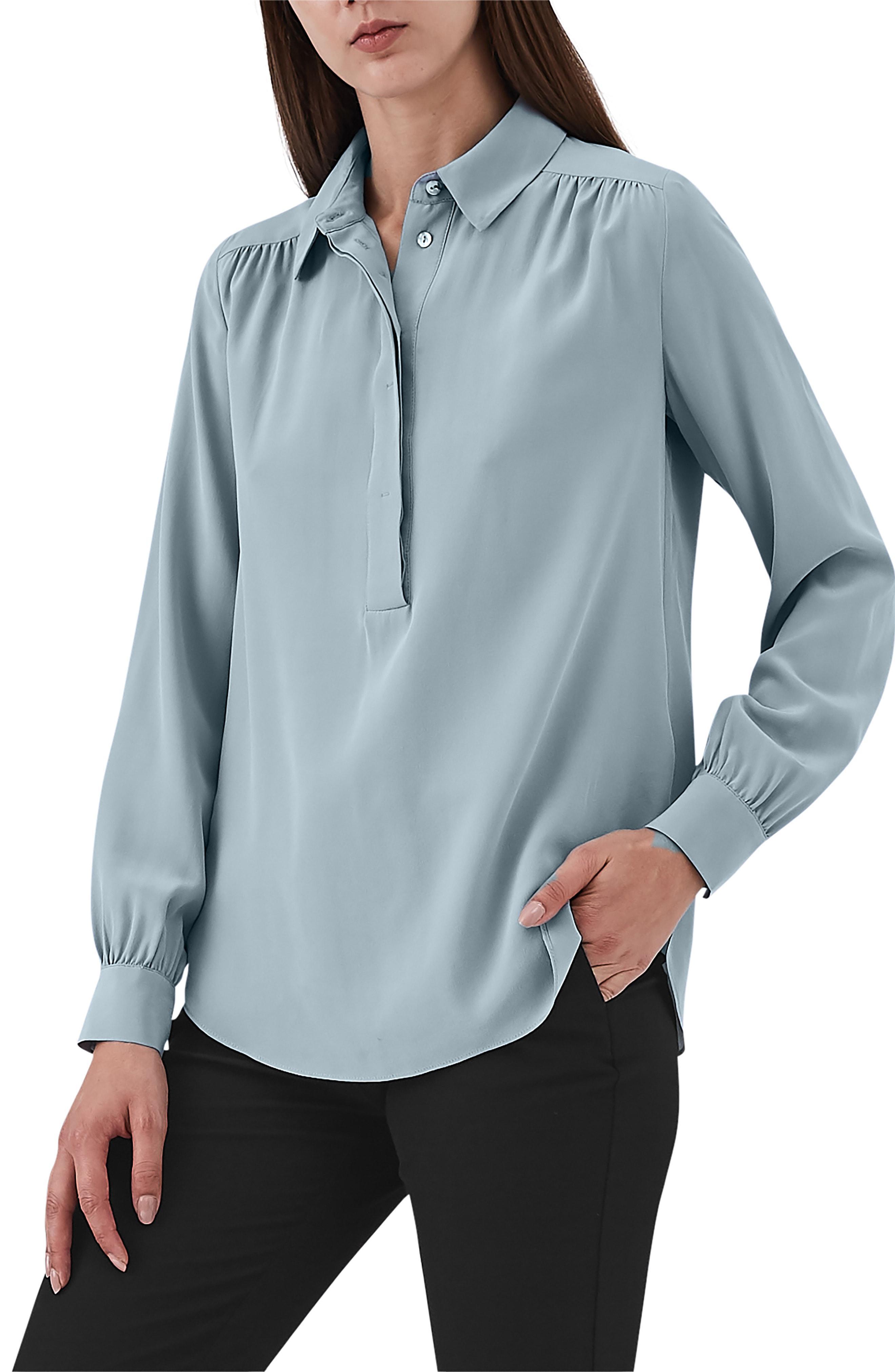 3eab29fdfe7b1 Lyst - Reiss Nadina Silk Shirt in Blue