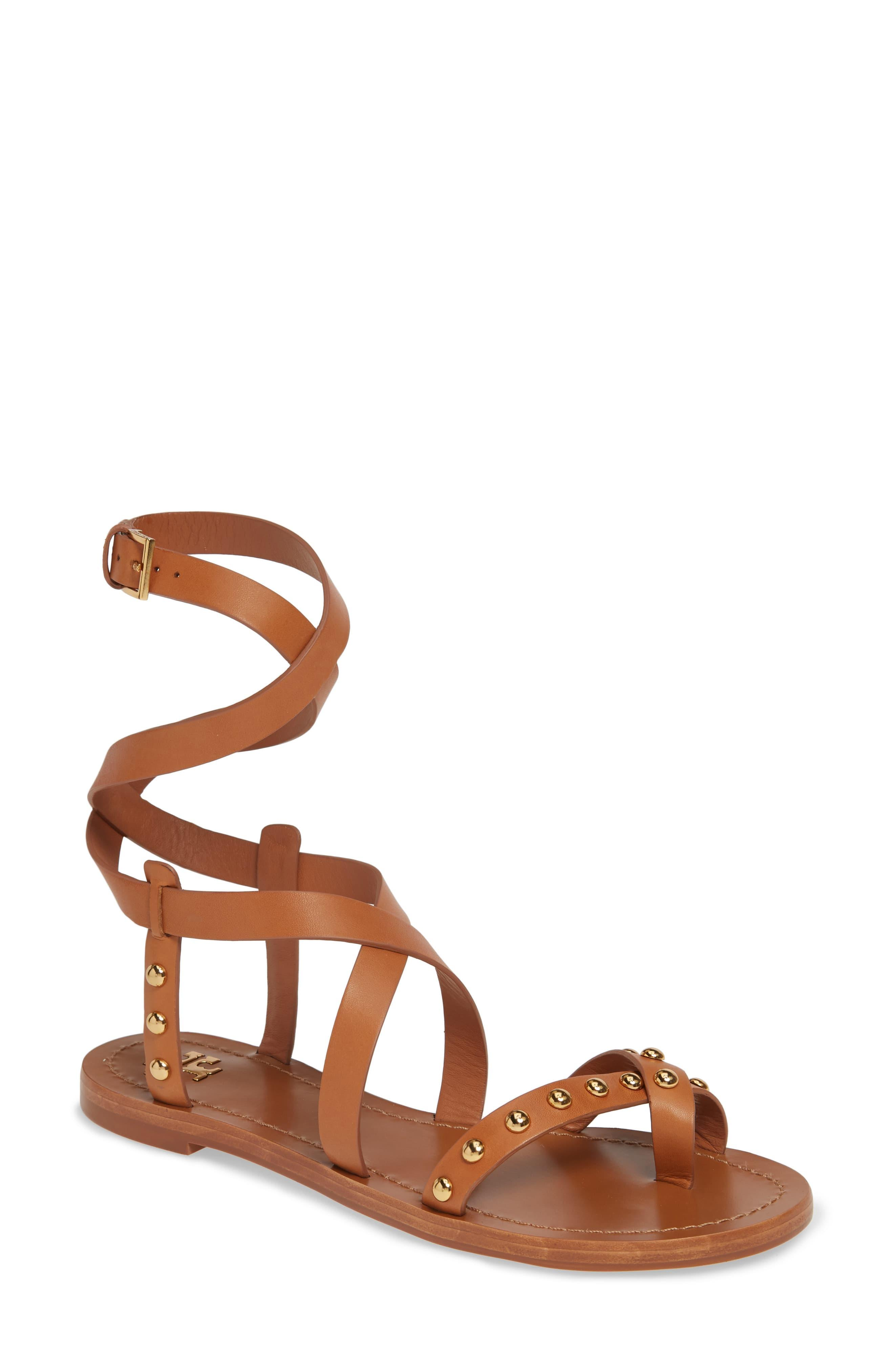 60a002551 Tory Burch Ravello Studded Cage Sandal in Brown - Lyst