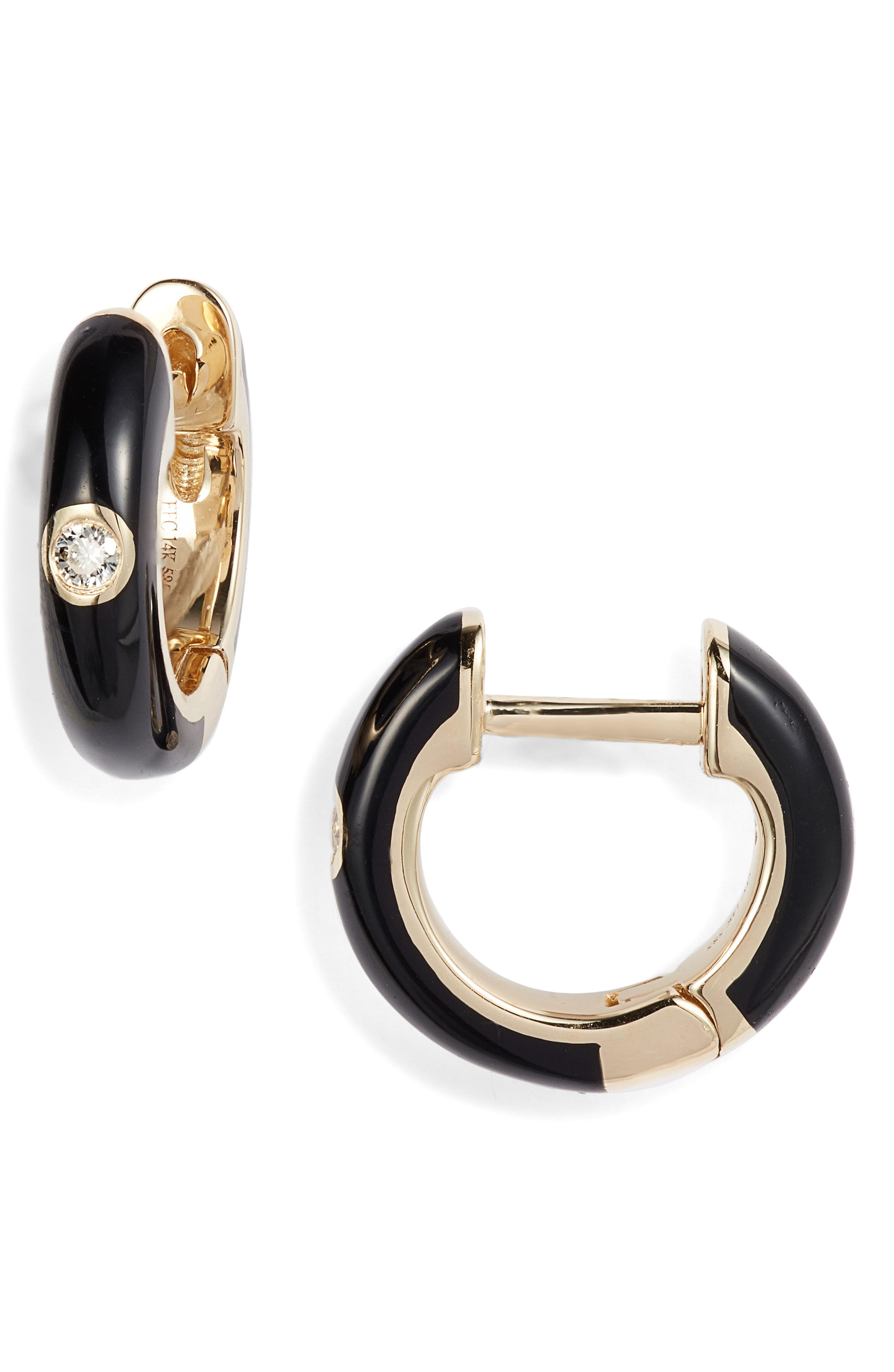 e01921792 Lyst - EF Collection Enamel Diamond Huggie Earrings in Black