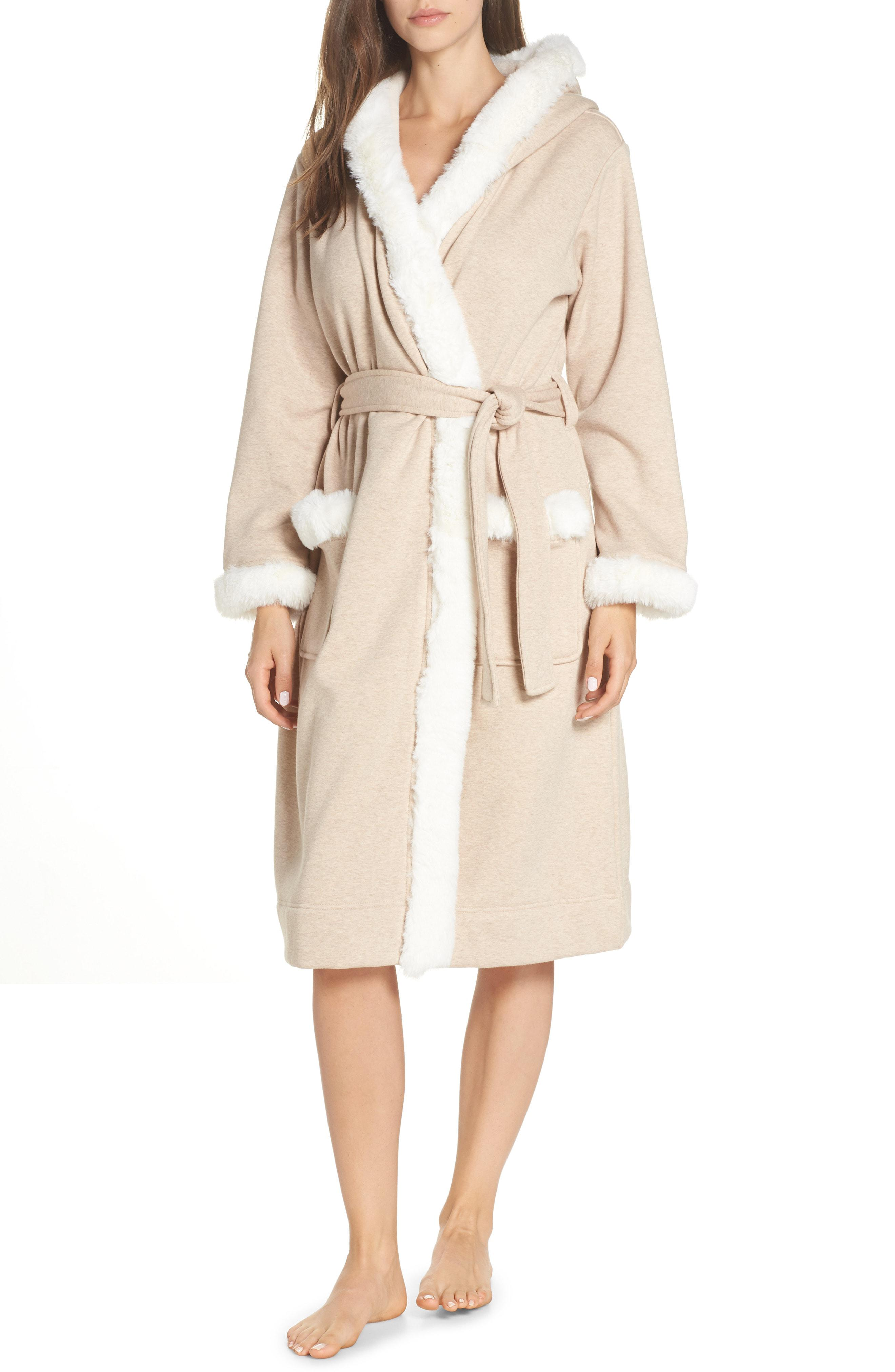8847579bab Lyst - Ugg Ugg Duffield Ii Deluxe Faux Fur Trim Robe in Natural