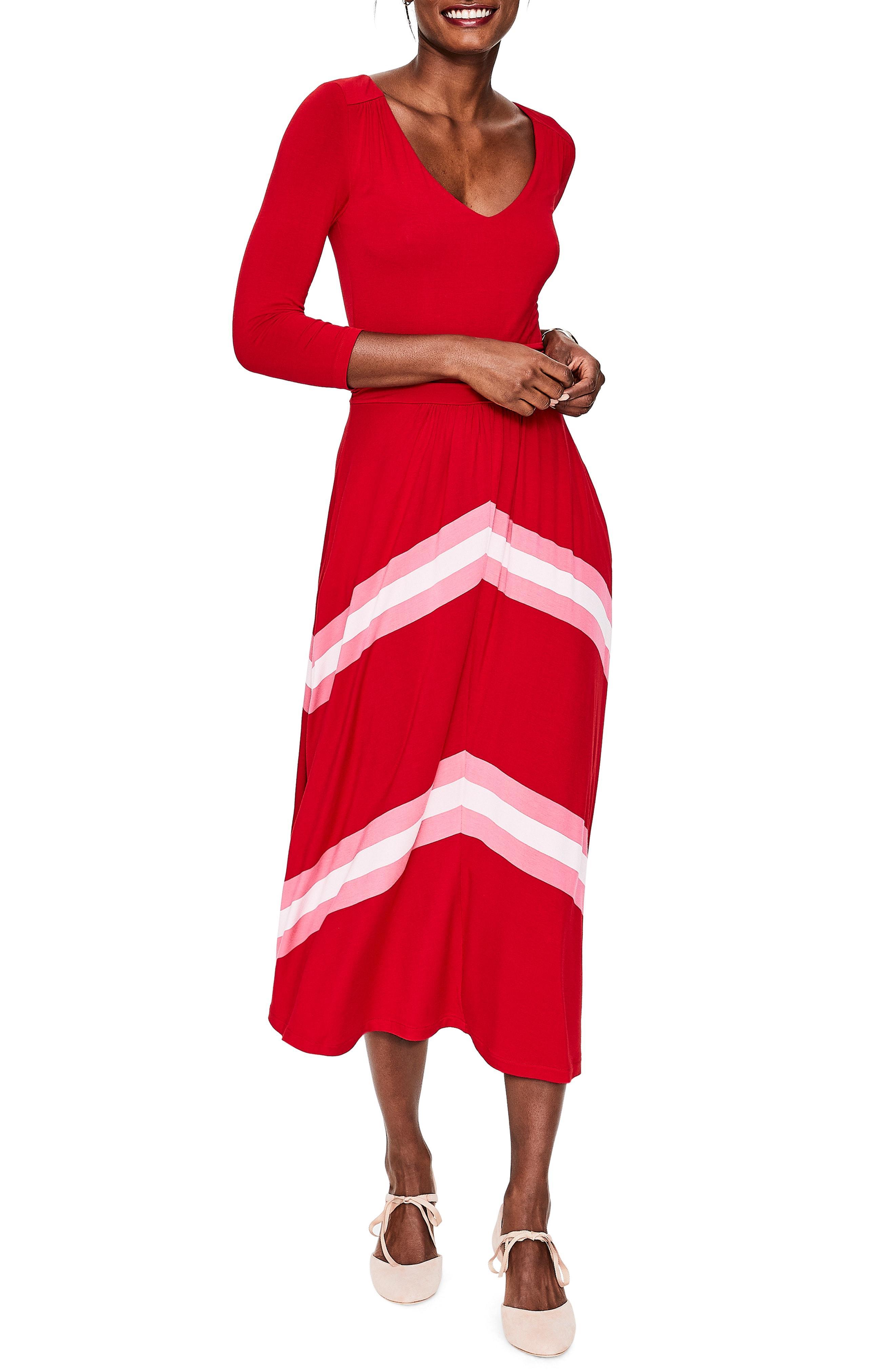 91f34577a76 Lyst - Boden Juliet Jersey Midi Dress in Red