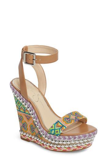 b8e7f8ee200 Lyst - Jessica Simpson Alinda Embellished Wedge Sandal in Metallic