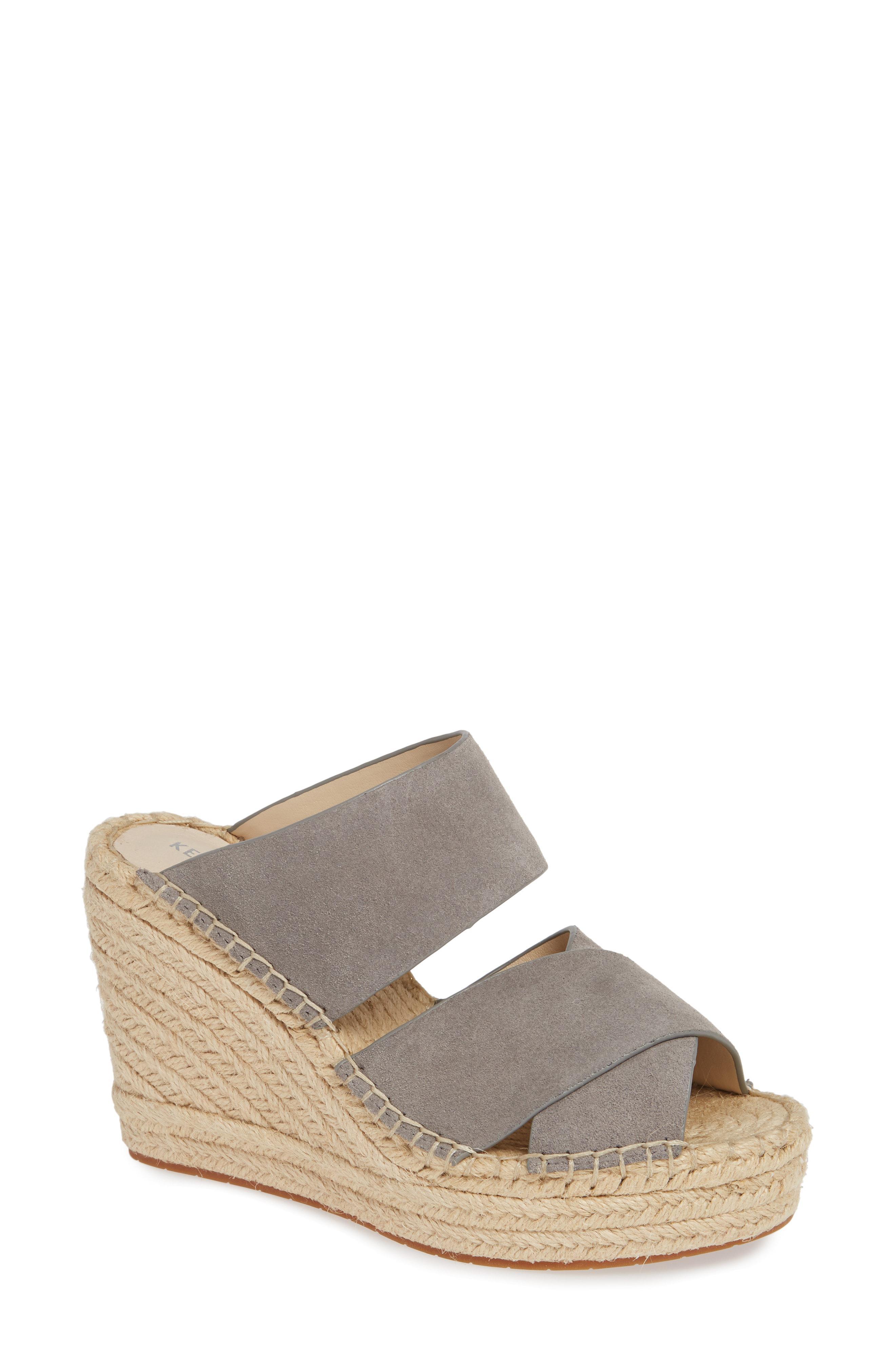 8a5d1caadb2b Lyst - Kenneth Cole Olivia Wedge Slide Sandal in Gray