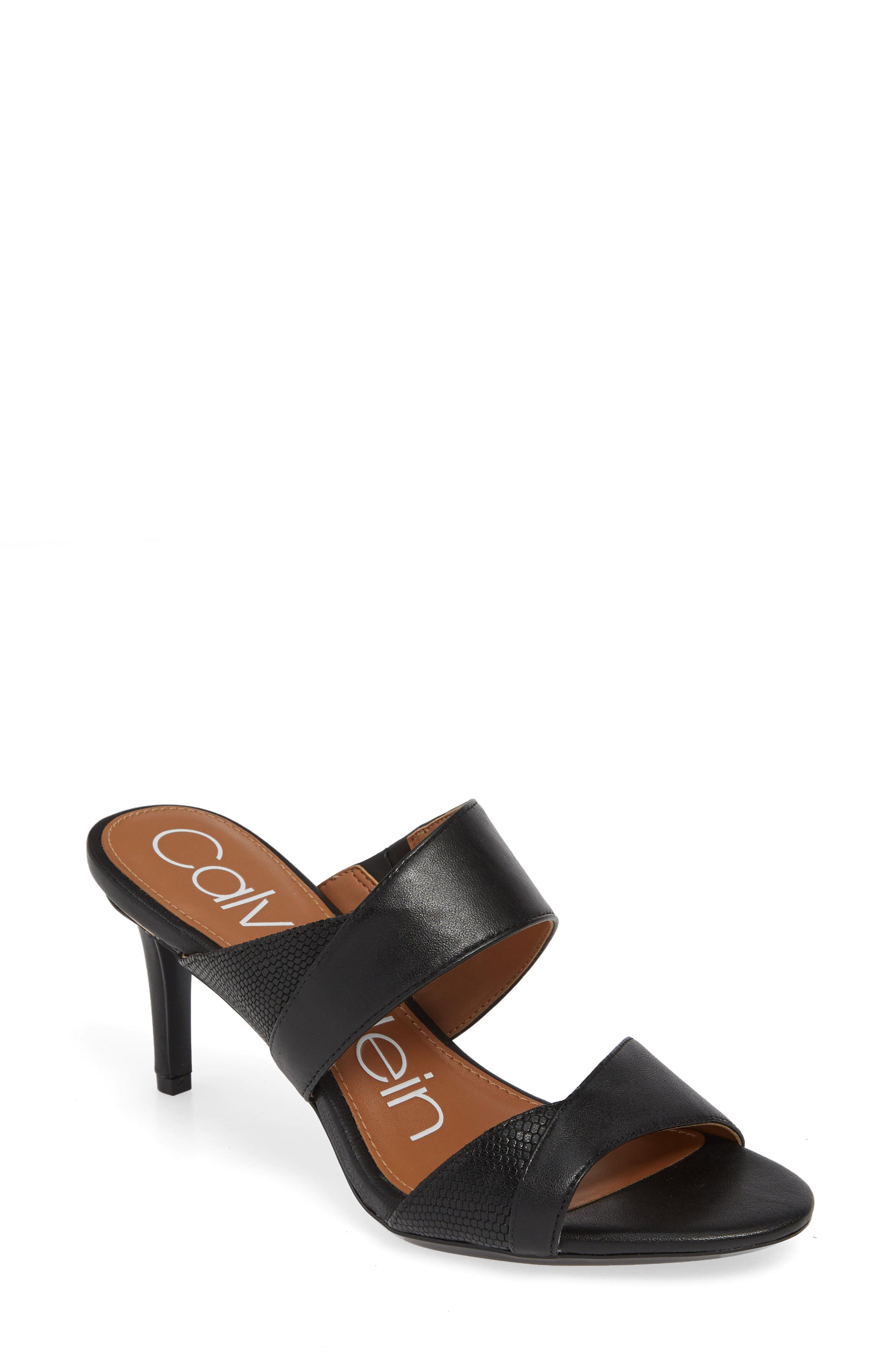 Calvin Lyst Lynnae Textured Black Sandal Slide In Klein vmN80yPwnO