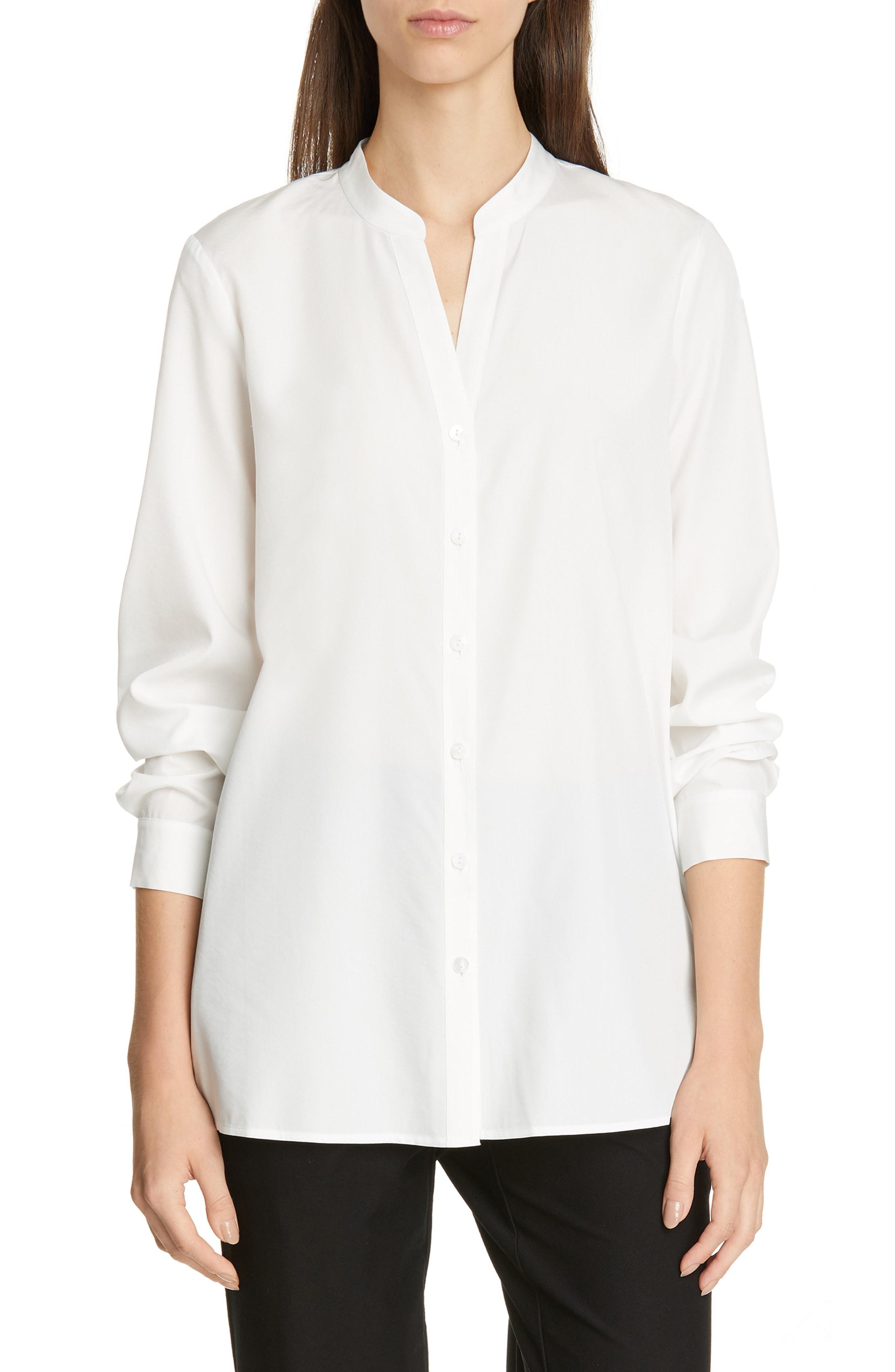 b9f44e5d12fe Lyst - Eileen Fisher Mandarin Collar Shirt in Black