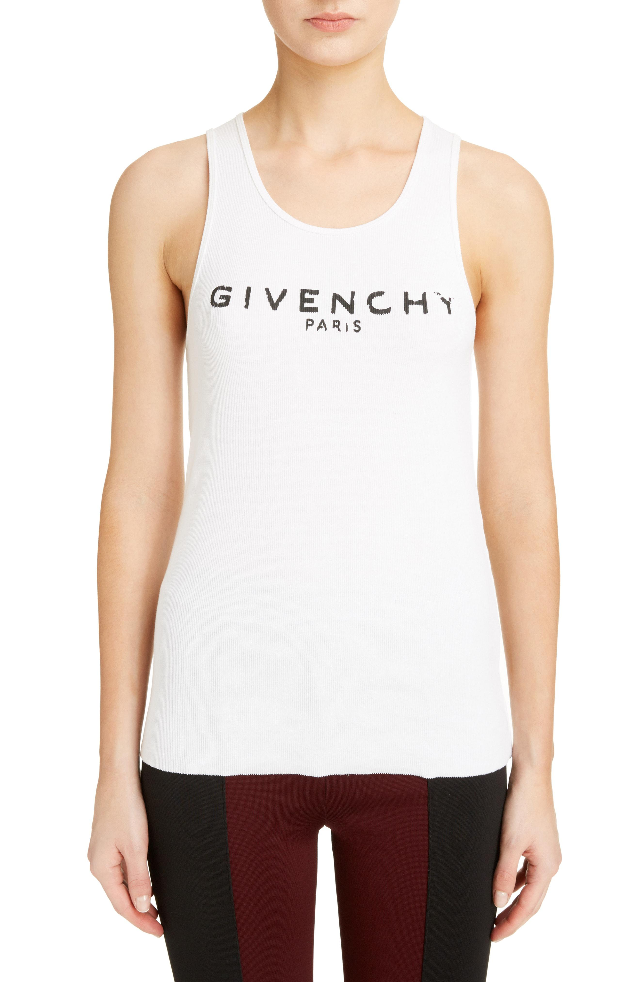ac27316e1fe62 Lyst - Givenchy Logo Ribbed Tank Top in White