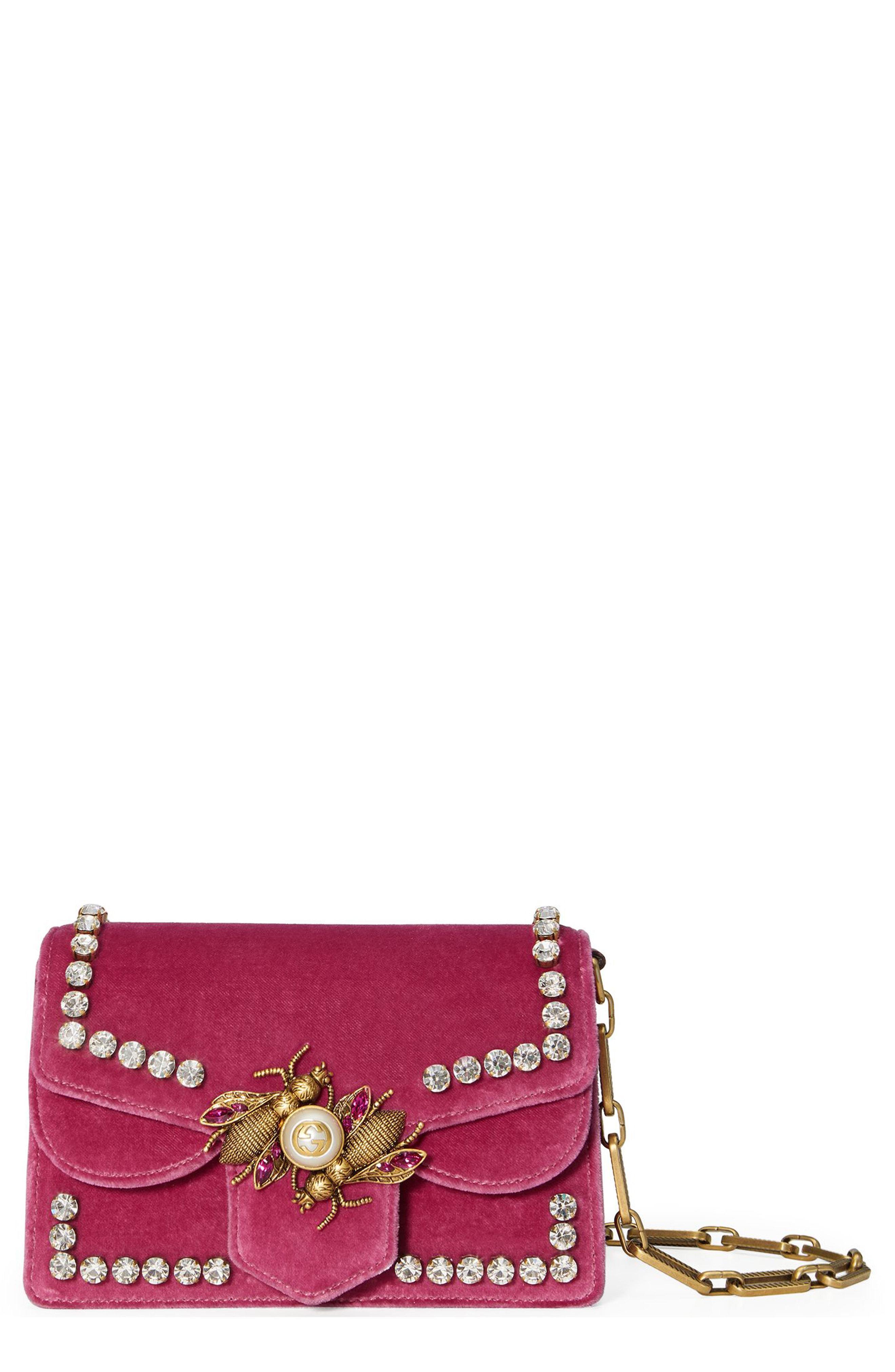Lyst - Gucci Broadway Bee Velvet Shoulder Bag in Pink 2c3b173bf47e2