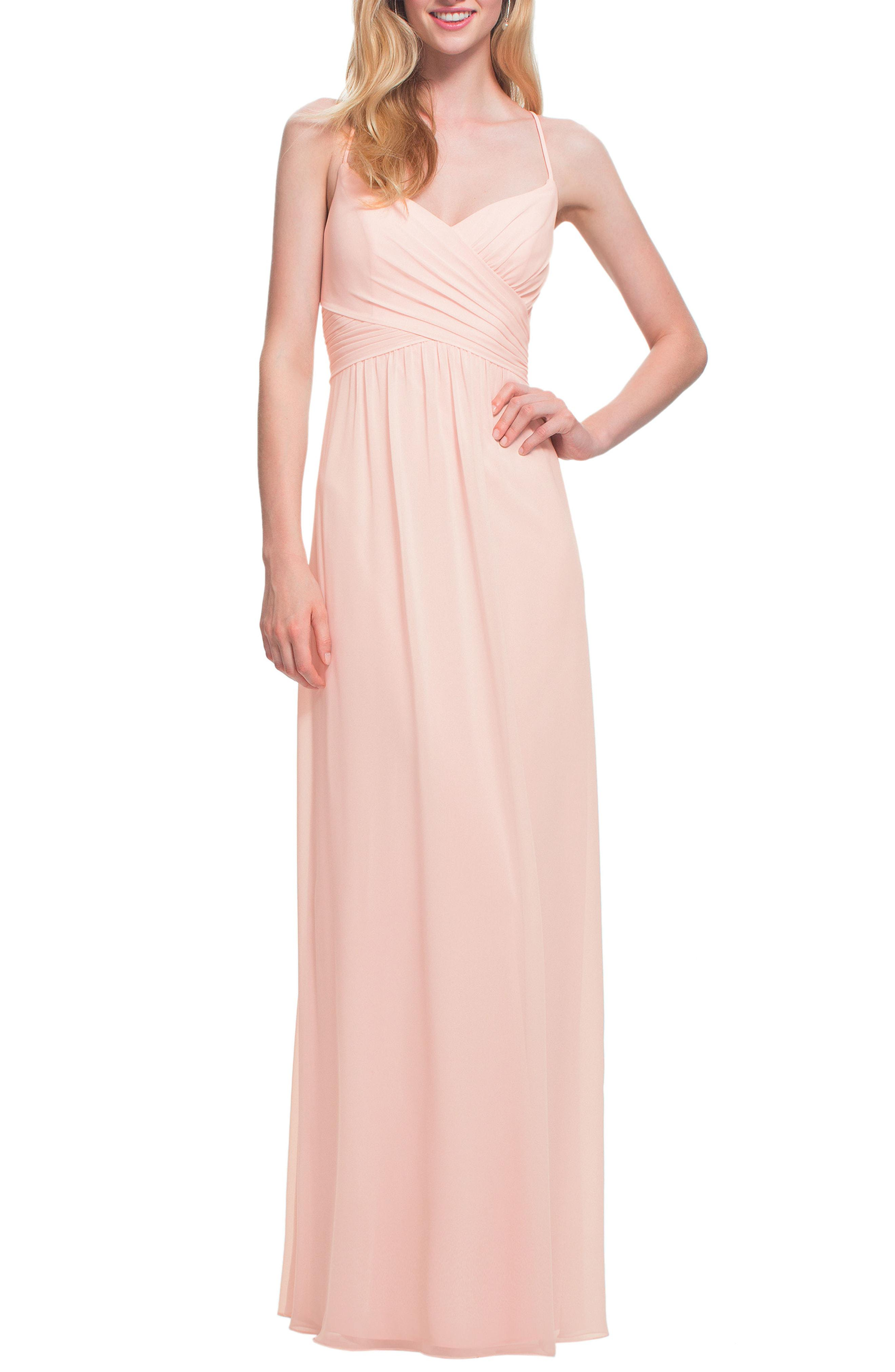 3634d8dedf1 Lyst - Bill Levkoff   Surplice Neck Chiffon Gown in Pink