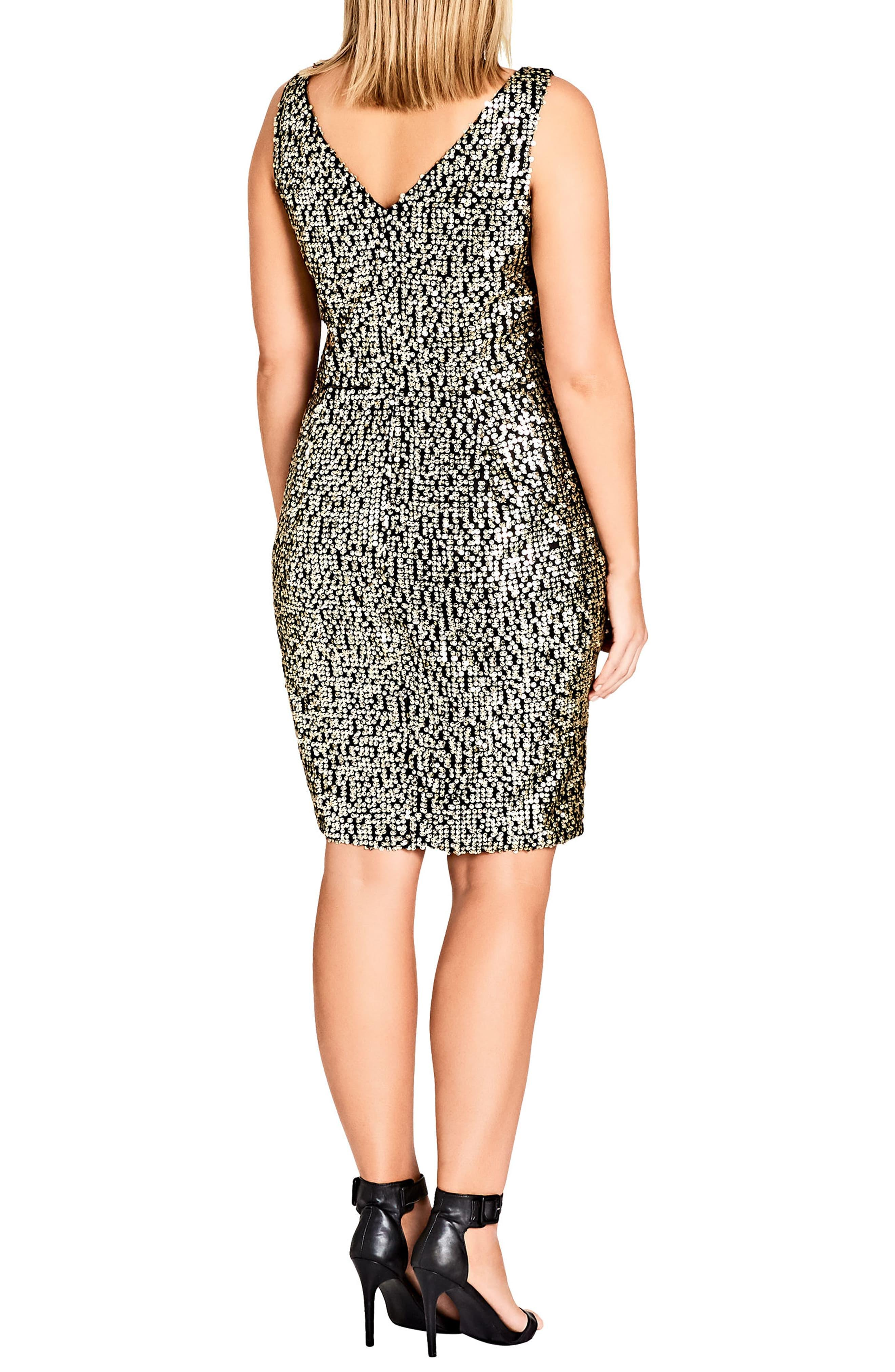 0bcd98b7 City Chic - Metallic Dazzle Me V-neck Sequin Dress - Lyst. View fullscreen