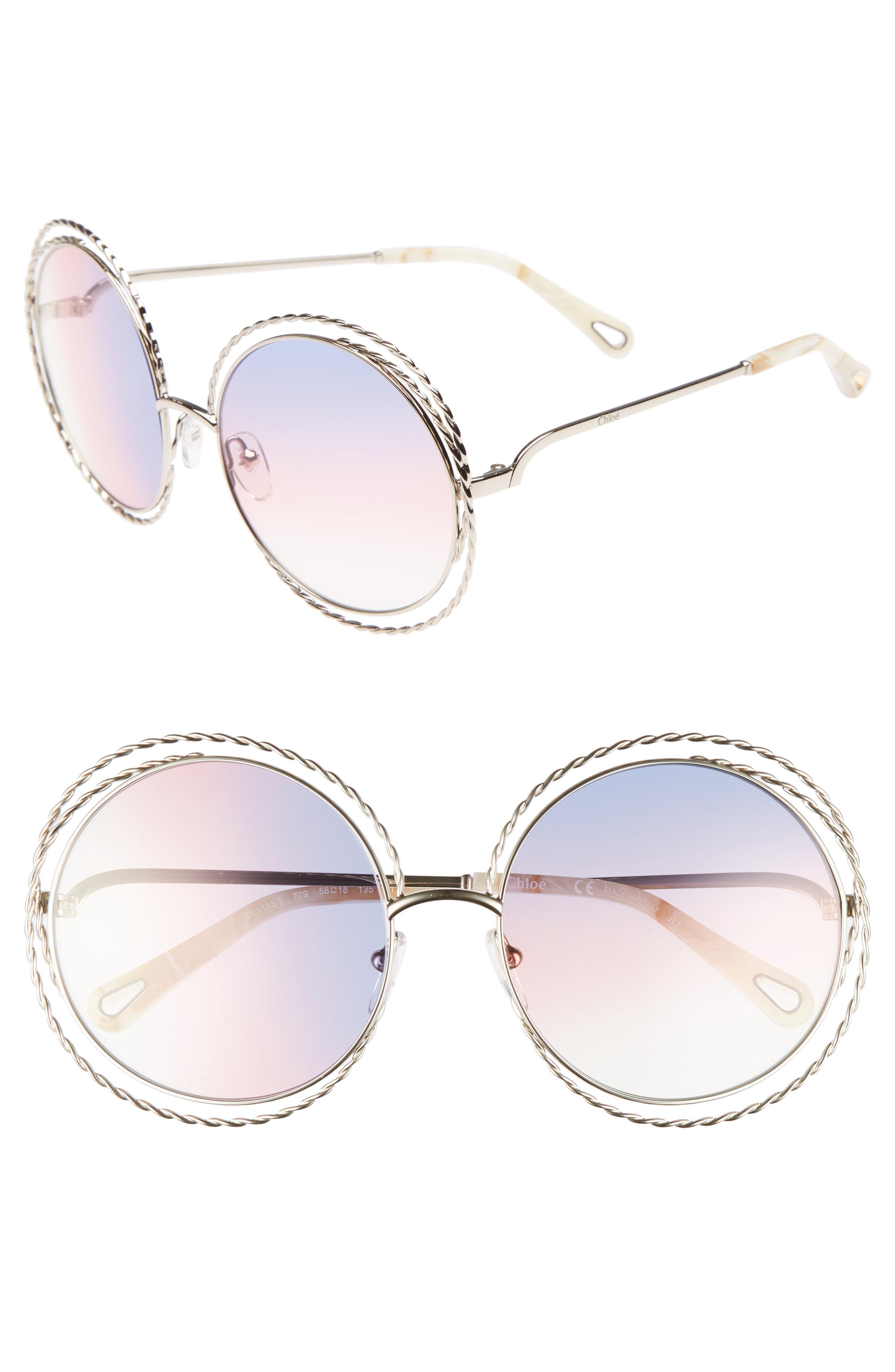 a933eb531d3 Lyst - Chloé Carlina Torsade 58mm Round Sunglasses in Metallic