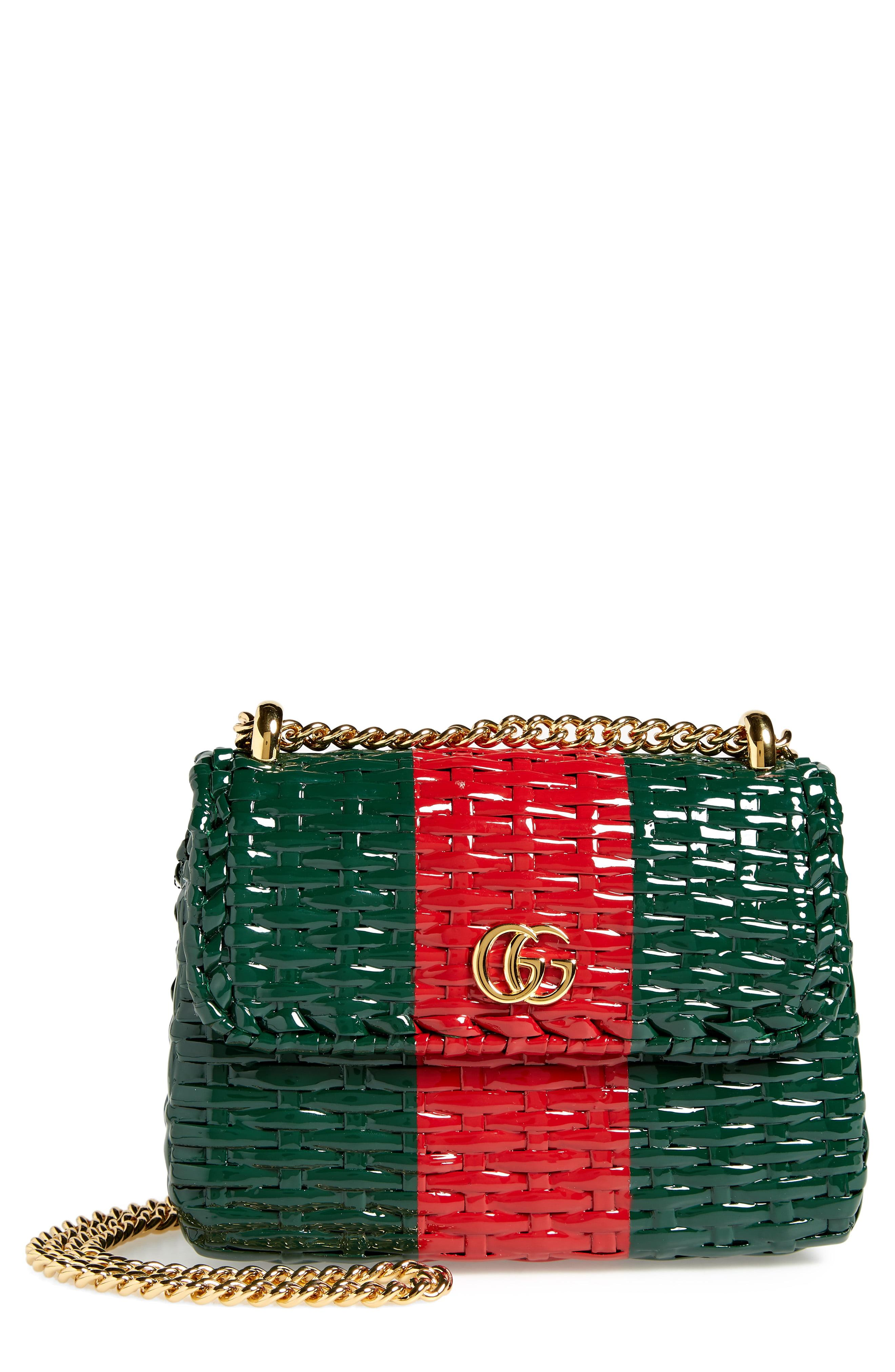 a91af4c5858 Lyst - Gucci Small Linea Cestino Glazed Wicker Shoulder Bag in Red
