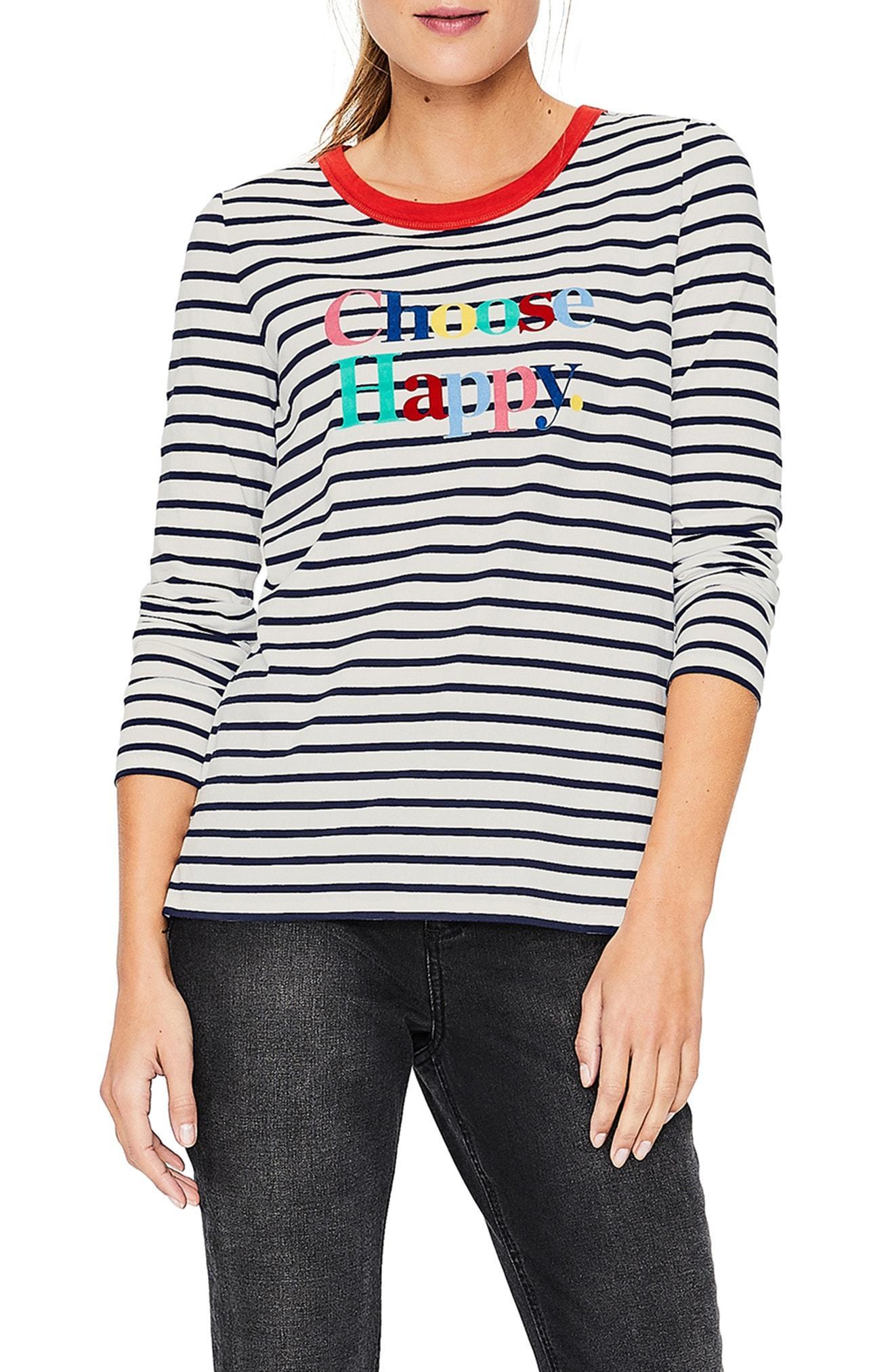 1ec1074222 Lyst - Boden Choose Happy Breton Stripe Top in Blue
