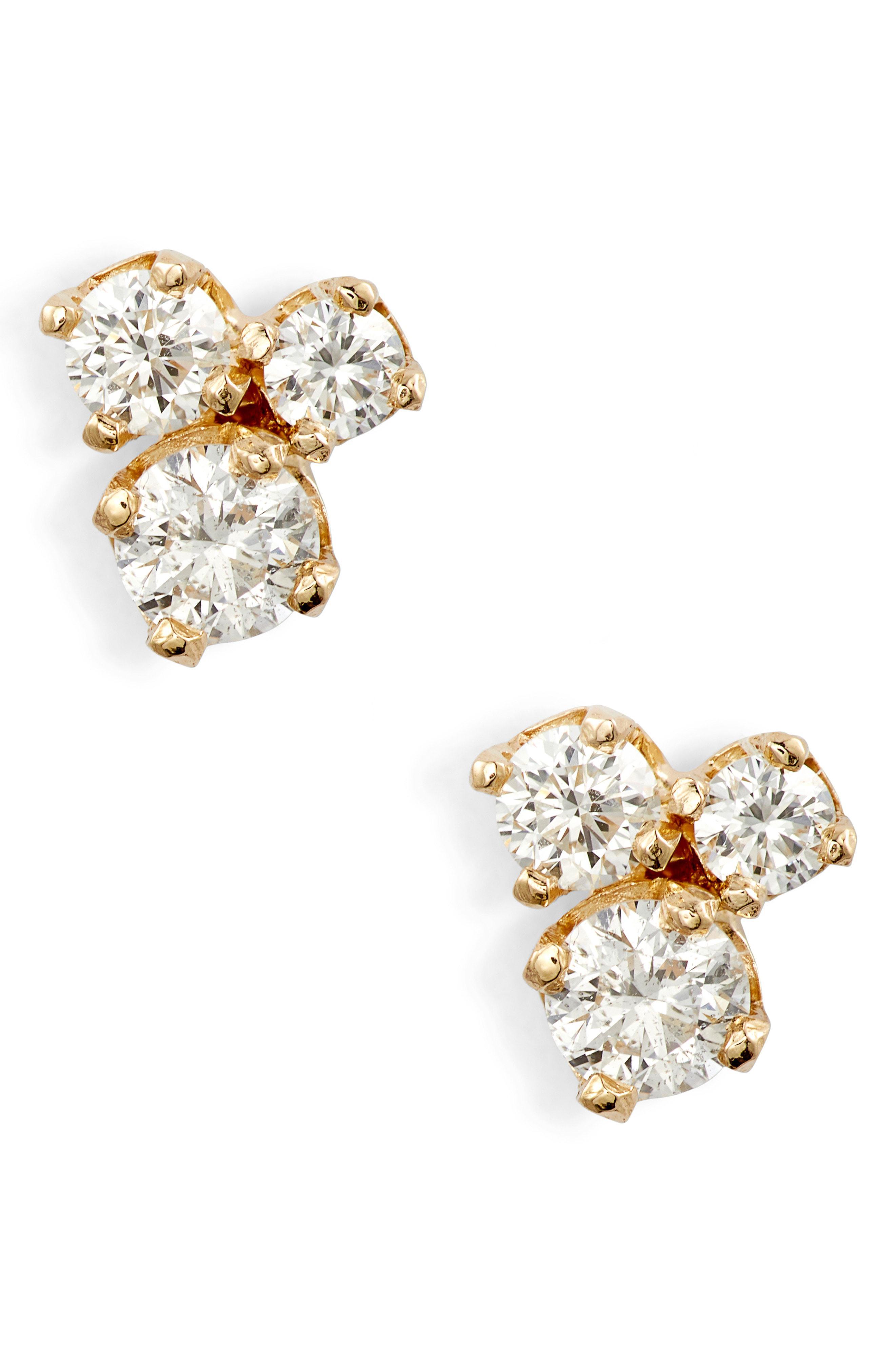 996dbd6d8 Lyst - Zoe Chicco Three-diamond Prong Stud Earrings in Metallic