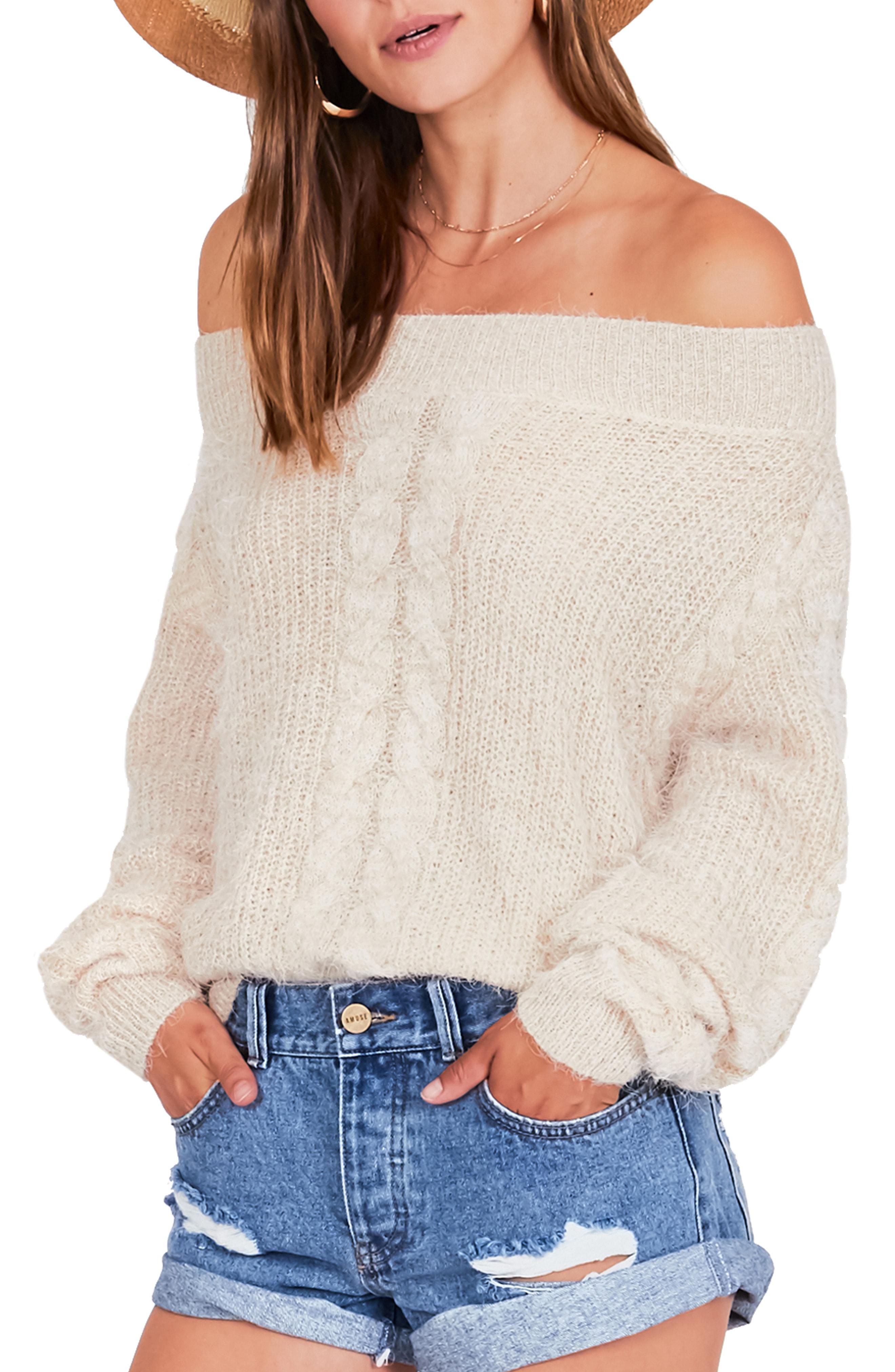 14c7212c49 Lyst - Amuse Society Miraflores Off The Shoulder Sweater in Natural