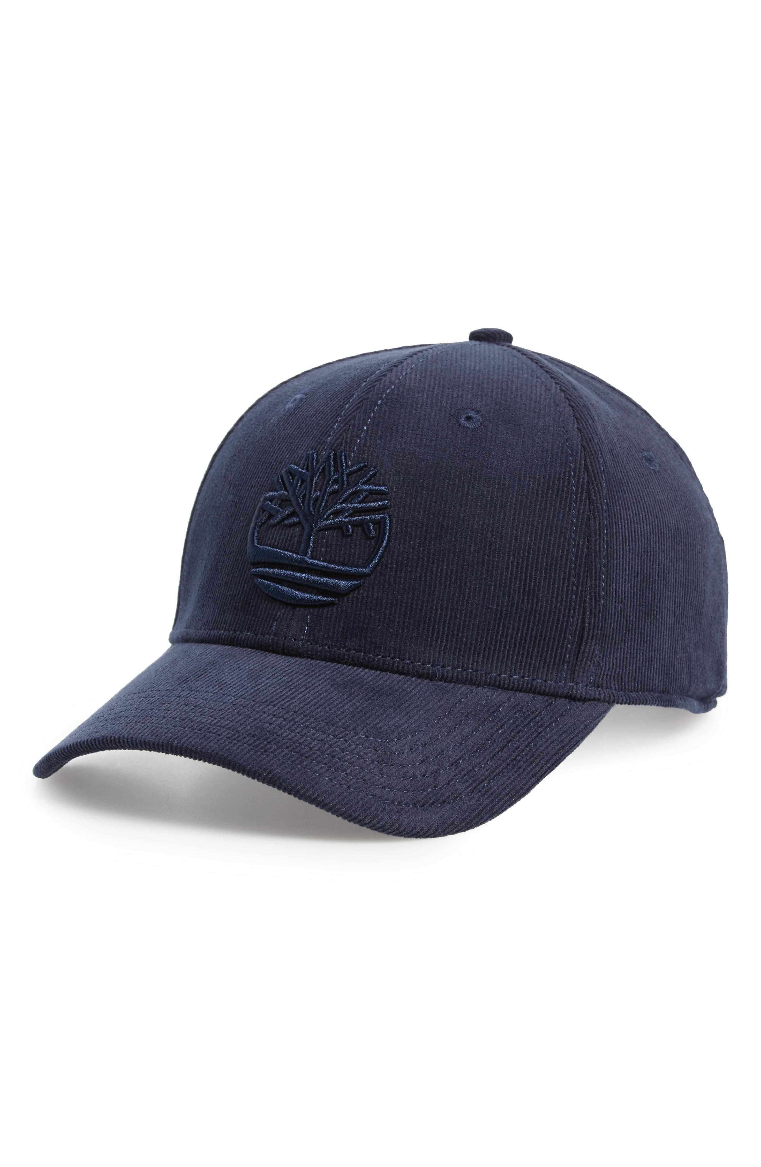 Lyst - Timberland Logo Embroidered Corduroy Ball Cap - in Blue for Men 947325719b8
