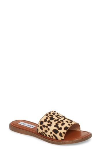 5f18358aa90 Lyst - Steve Madden Camilla Genuine Calf Hair Slide Sandal