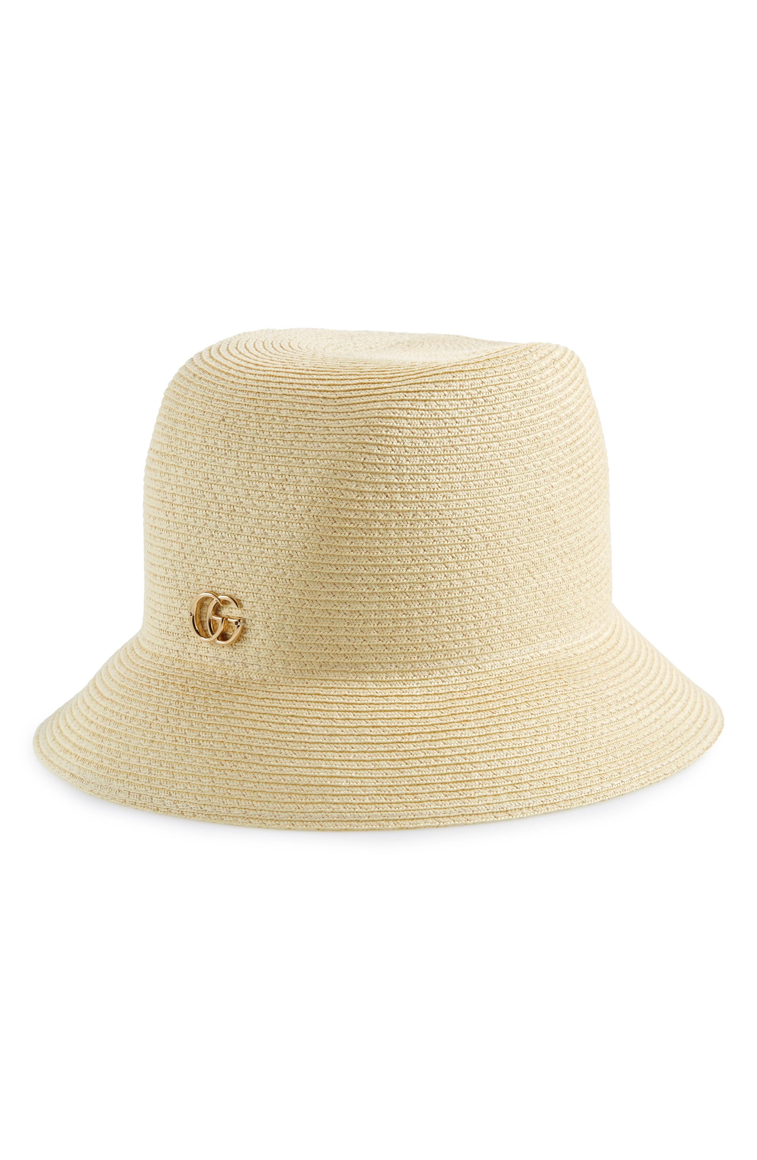 af7ad27e Lyst - Gucci Straw Bucket Hat in White
