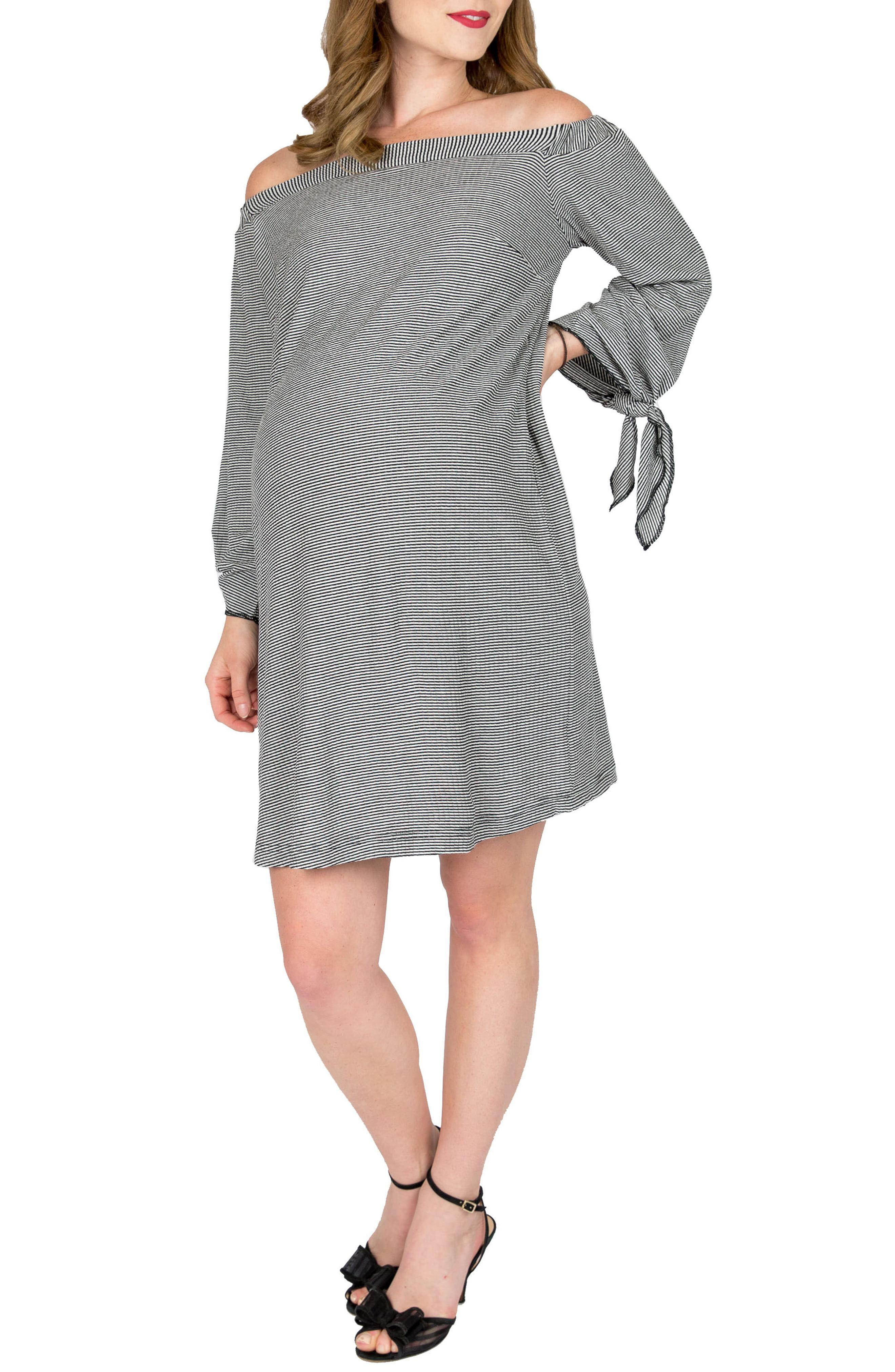 3a6011a057d Nom Maternity. Women s Black Octavia Off The Shoulder Maternity Dress