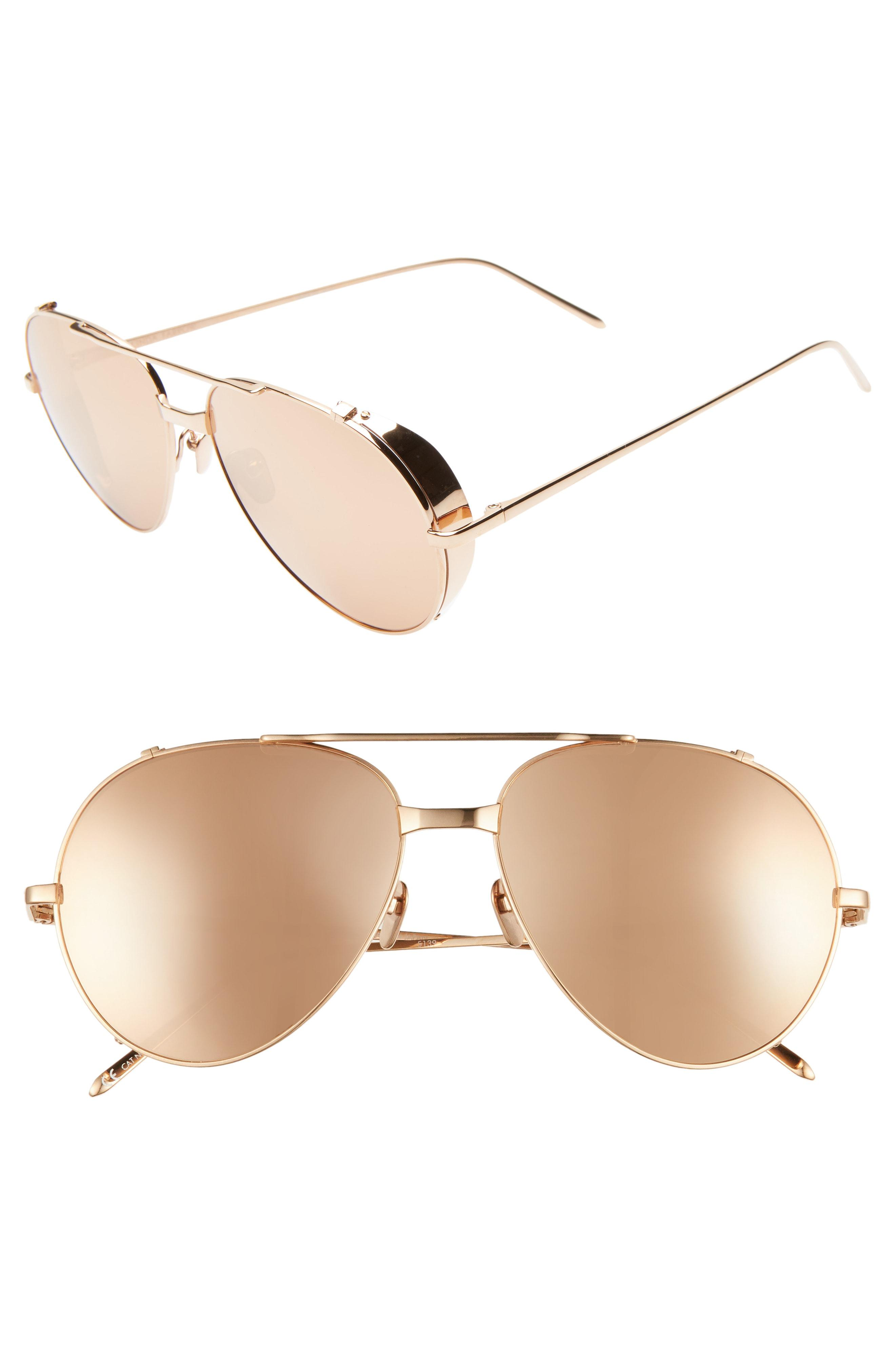 8deb723df42c Lyst - Linda Farrow 58mm Aviator Sunglasses in Metallic
