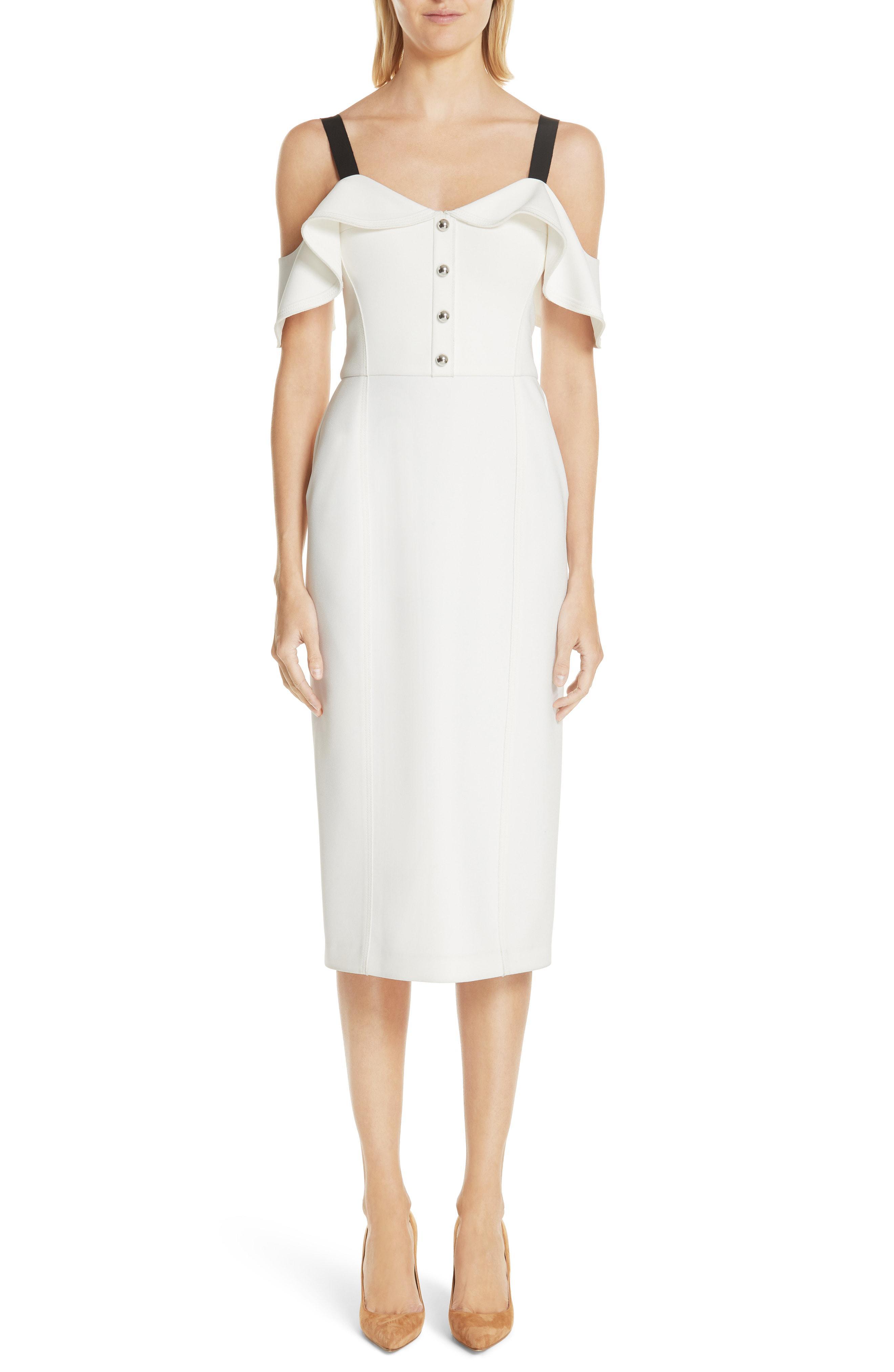 a8df757935b Lyst - Jason Wu Cold Shoulder Crepe Sheath Dress in White