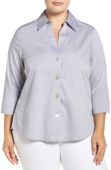 Foxcroft 39 Paige 39 Non Iron Cotton Shirt In Pink Chambray