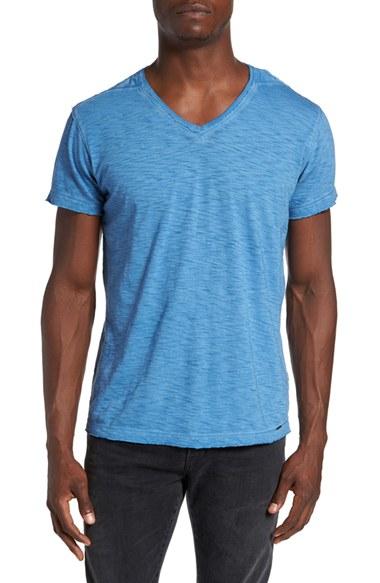 Diesel diesel 39 tossik 39 v neck t shirt in blue for men lyst for Mens diesel v neck t shirts