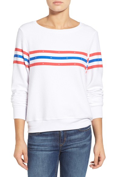 Lyst wildfox 39 us gladiator 39 stripe pullover in white for How to clean white dress shirts