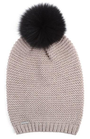 Soia Amp Kyo Slouchy Knit Beanie With Genuine Fox Fur Pompom