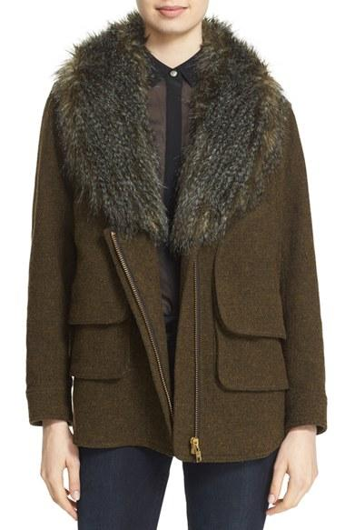 Smythe 'flak' Wool Blend Jacket With Removable Faux Fur ...