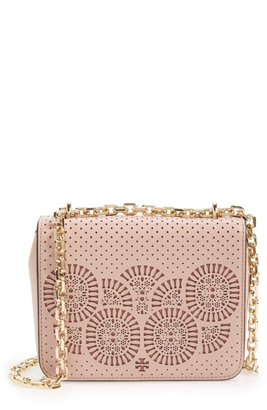 1a6c852a4f5d Lyst - Tory Burch  zoey  Perforated Leather Shoulder Bag in Pink