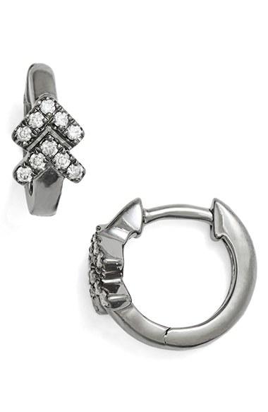 Dana Rebecca Double Arrow Diamond Hoop Earrings In Black