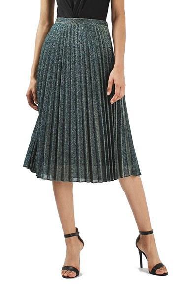 topshop glitter pleated midi skirt in green lyst