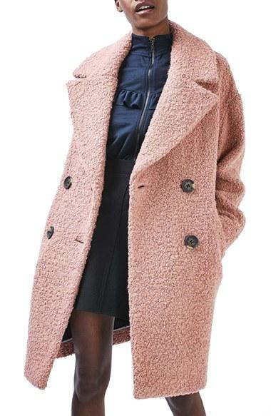 Lyst Topshop Alicia Boucle Coat In Pink