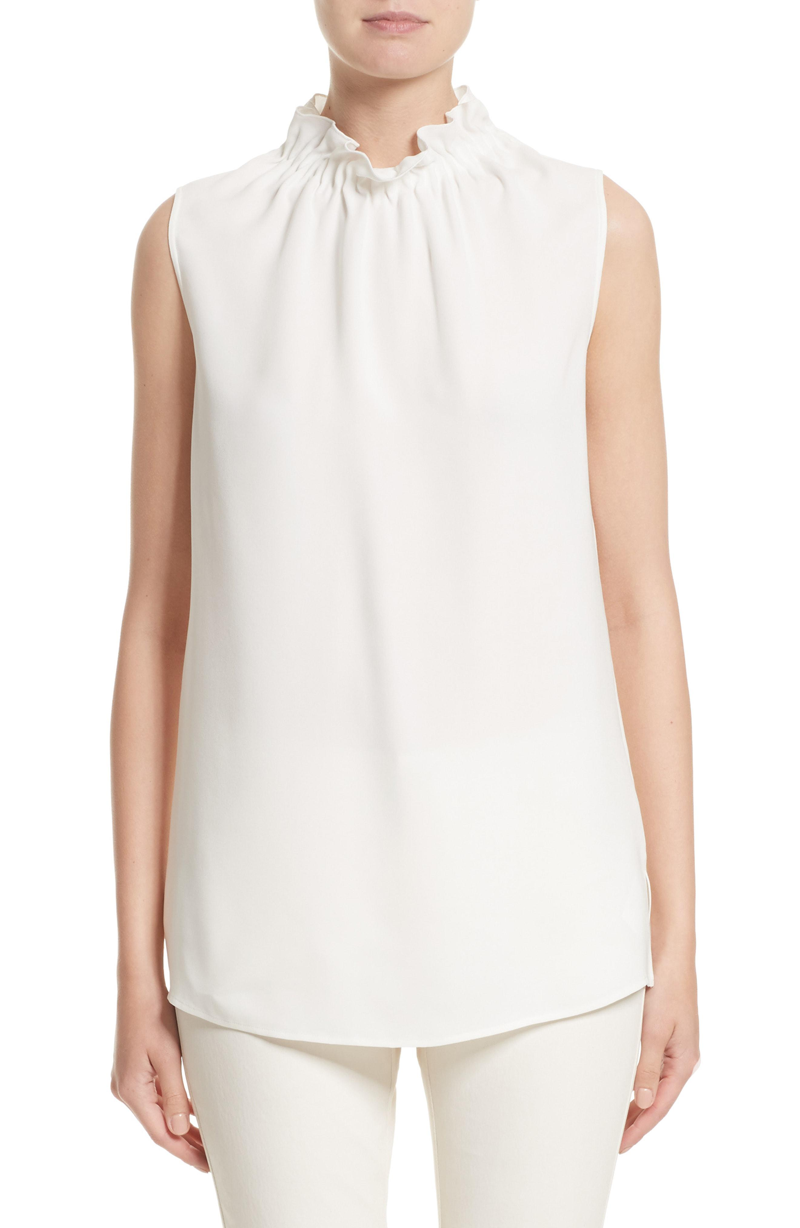 e552fdcc9f9bf Lafayette 148 New York. Women s White Percy Silk Double Georgette Blouse