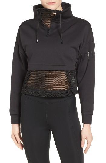 ivy park mesh panel funnel sweatshirt in black lyst. Black Bedroom Furniture Sets. Home Design Ideas