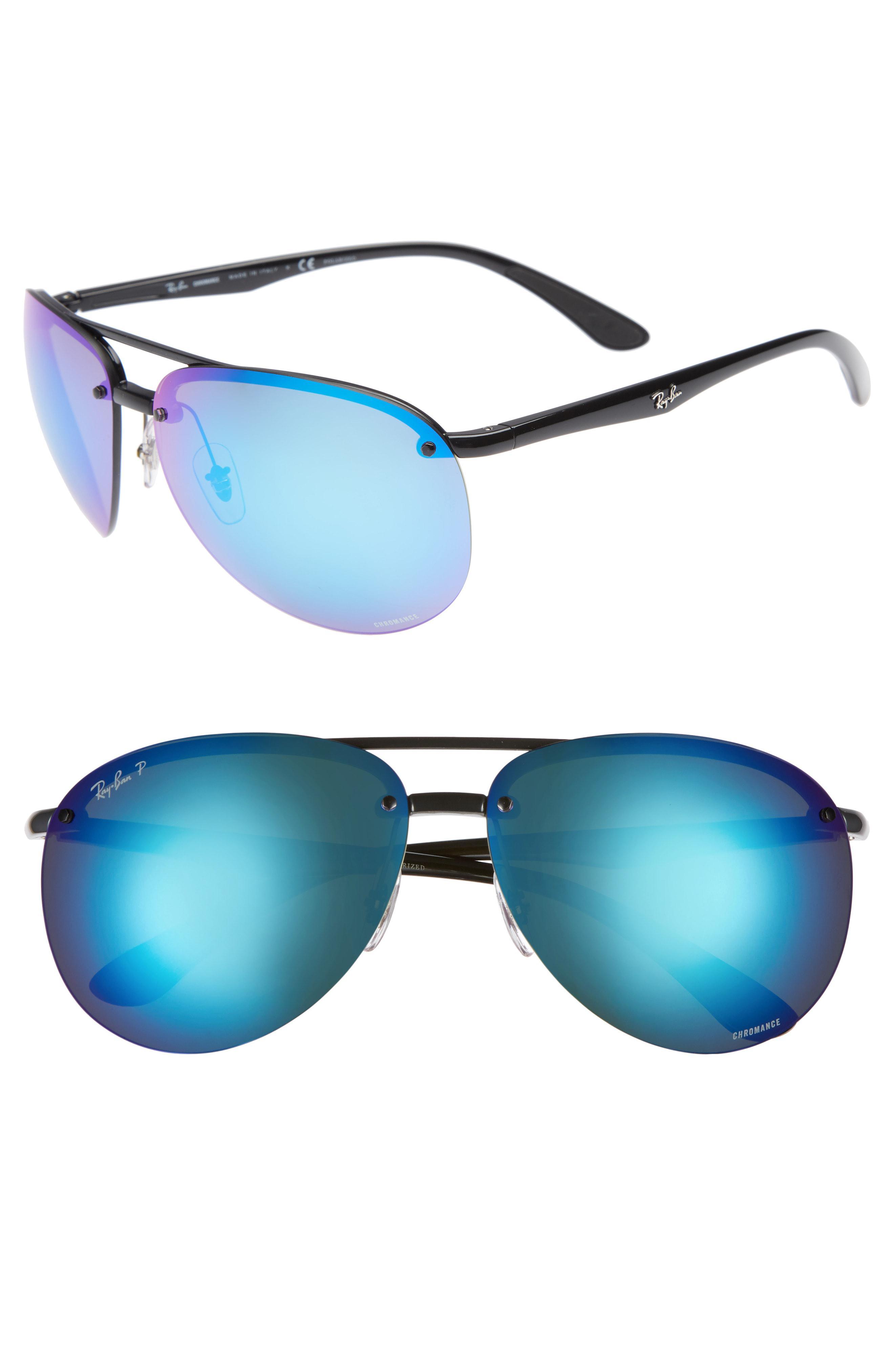 394986eaec Lyst - Ray-Ban 65mm Chromance Polarized Aviator Sunglasses in Black ...