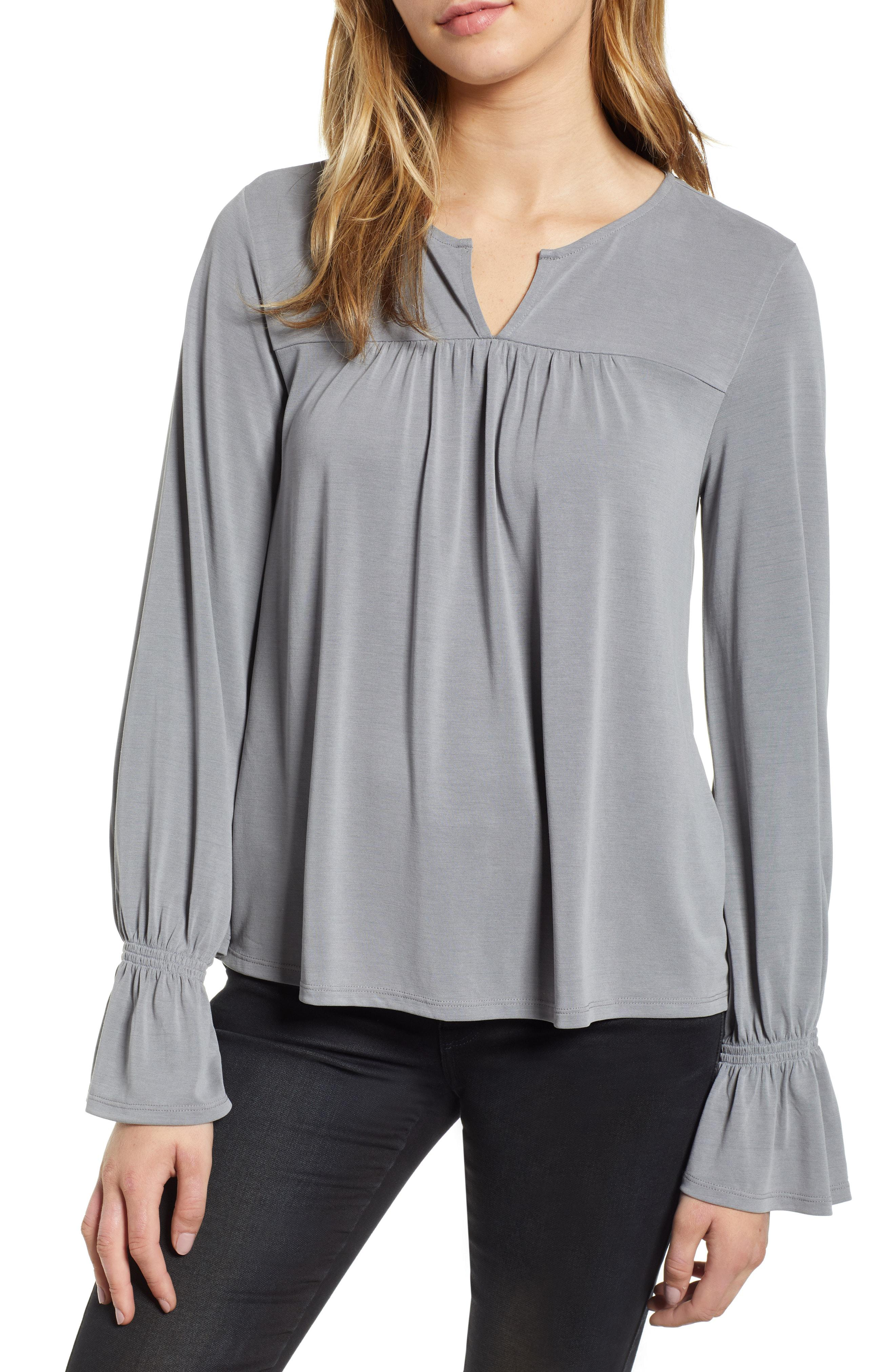 e718225365f Lucky Brand Ruffle Sleeve Peasant Top in Gray - Lyst