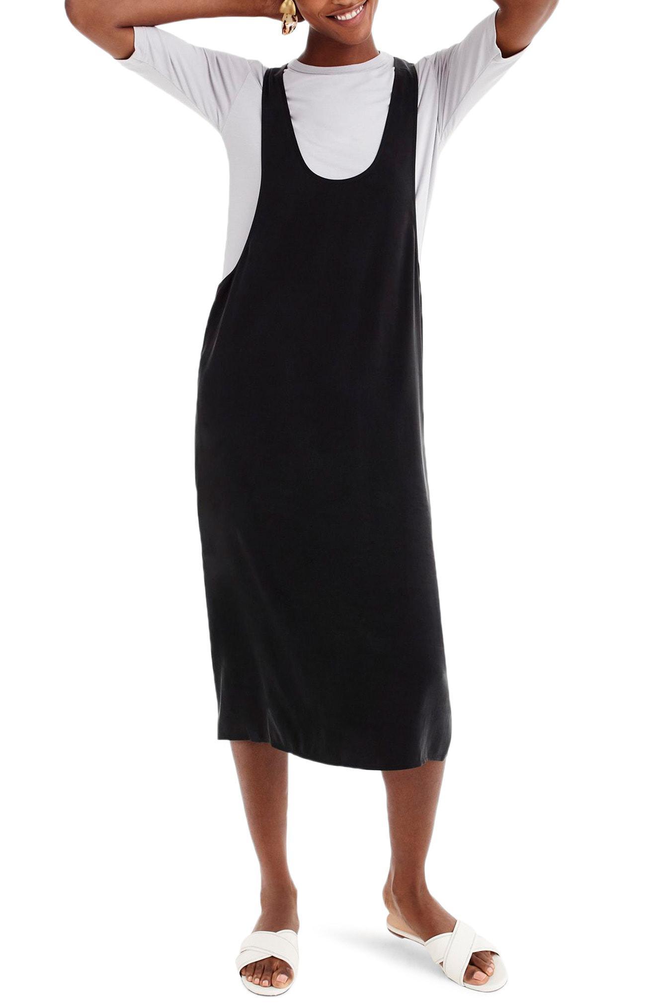 6e354286939 UNIVERSAL STANDARD. Women s Gray For J.crew Cupro Blend Layering Tank Dress