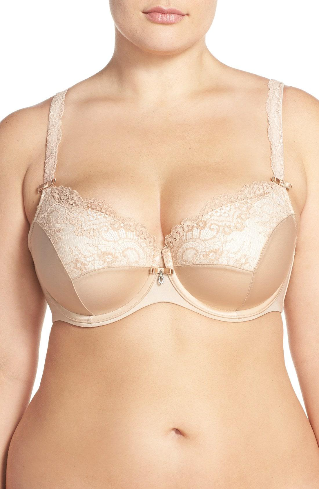 a135a2e507855 Lyst - Curvy Couture  foxy  Lace Balconette Bra in Natural