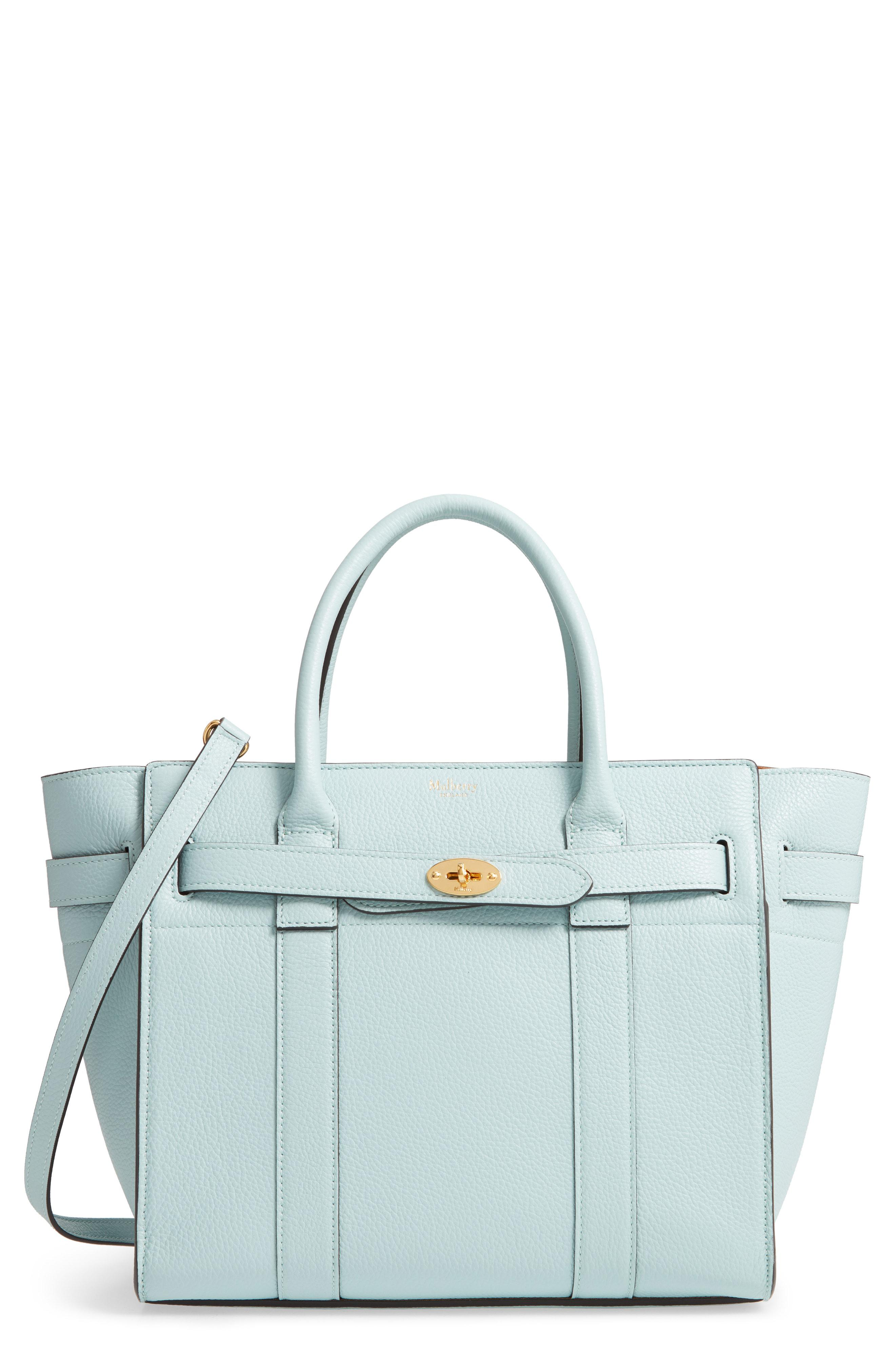 d416e5e9ae26 Lyst - Mulberry Small Zip Bayswater Classic Leather Tote in Blue