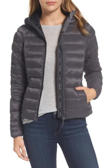 Canada Goose. Women's Gray 'brookvale' Packable Hooded Quilted Down Jacket ...