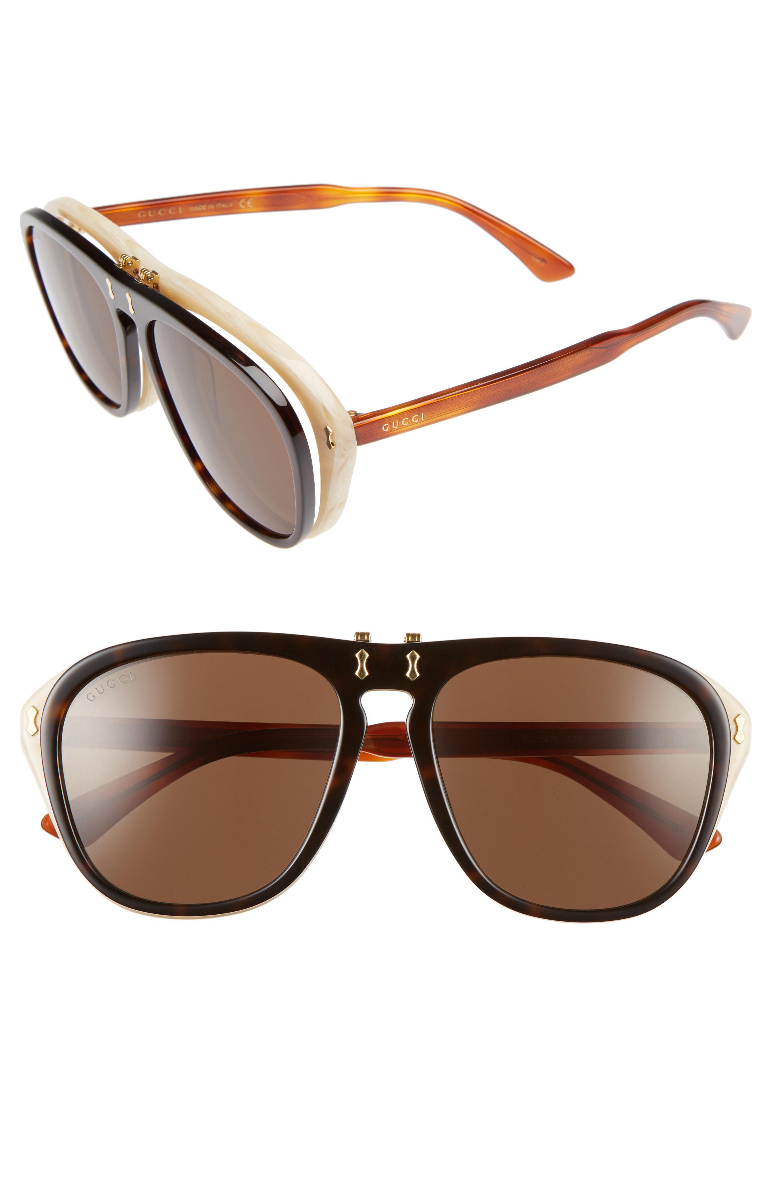 220aeafe43d50 Lyst - Gucci 56mm Flip-up Sunglasses - Havana  Brown in Brown