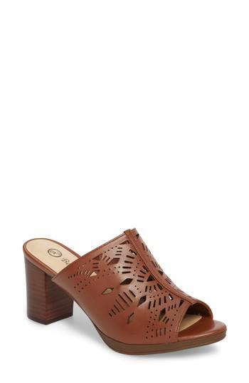 Bella Vita Lark Laser Perforated Slide Sandal In Brown Lyst