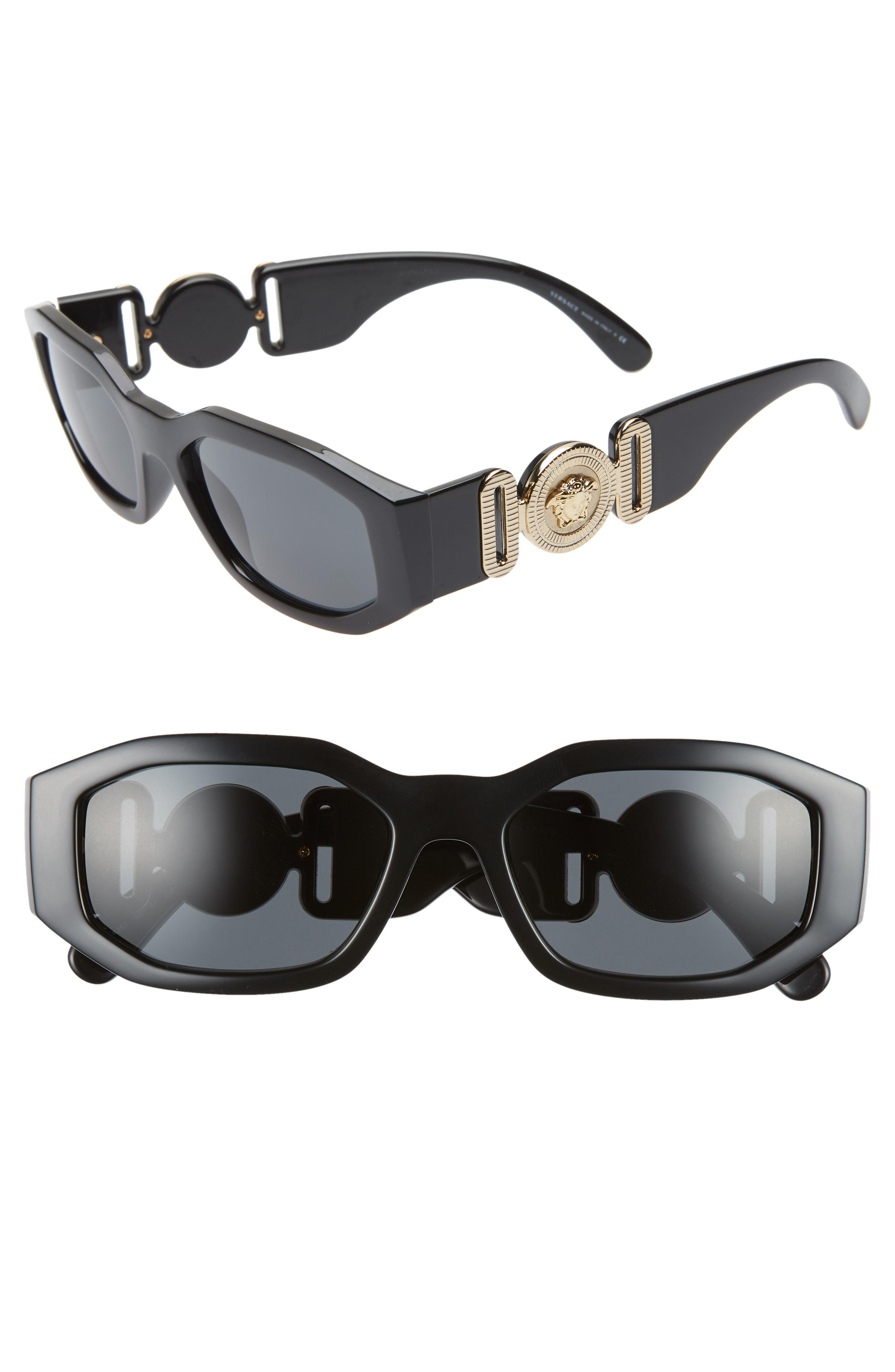 1006cc96ec4 Lyst - Versace Biggie 53mm Round Sunglasses in Black