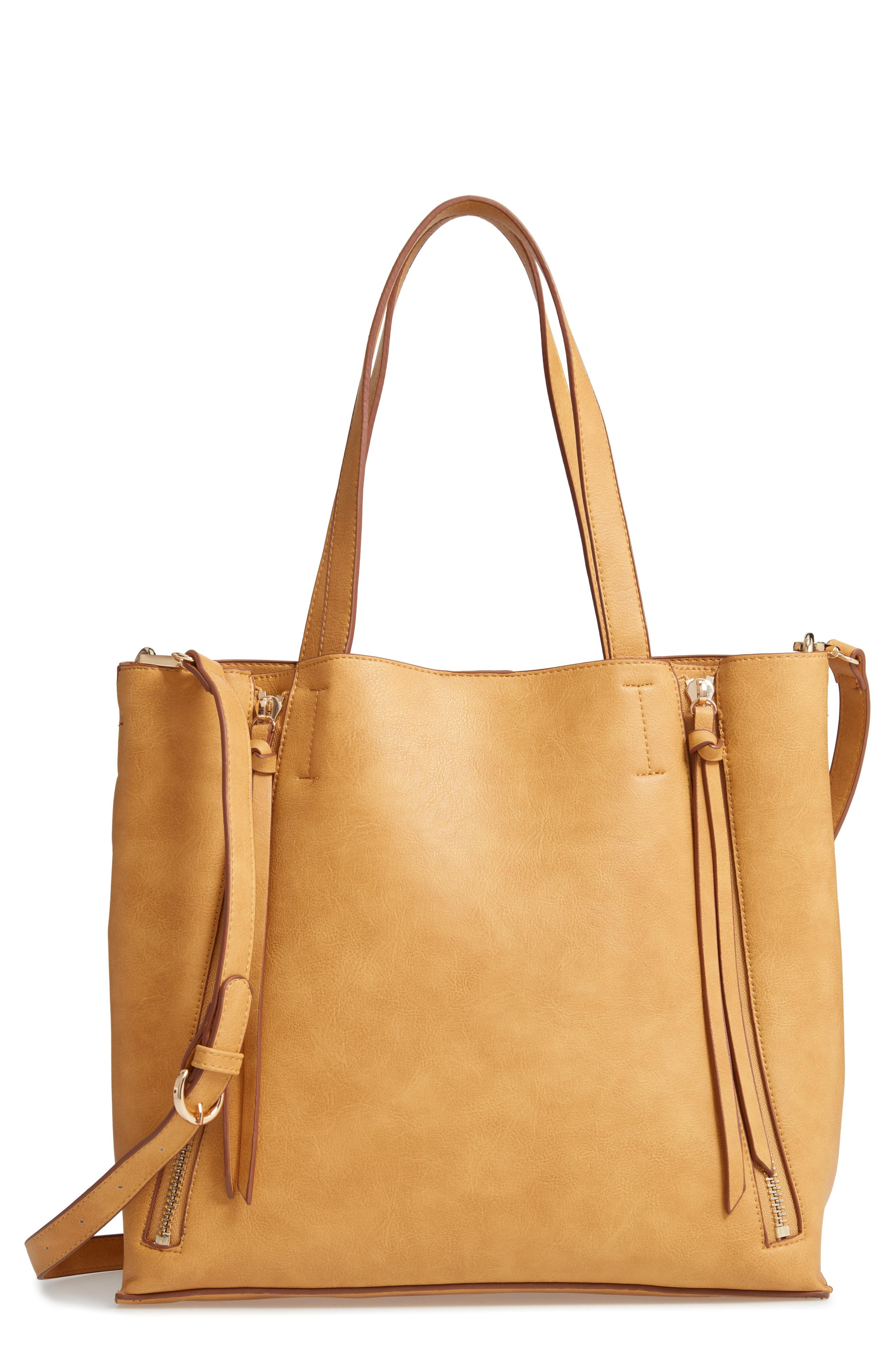 Lyst - Chelsea28 Leigh Convertible Zipper Faux Leather Tote in Brown 4fbc203e29