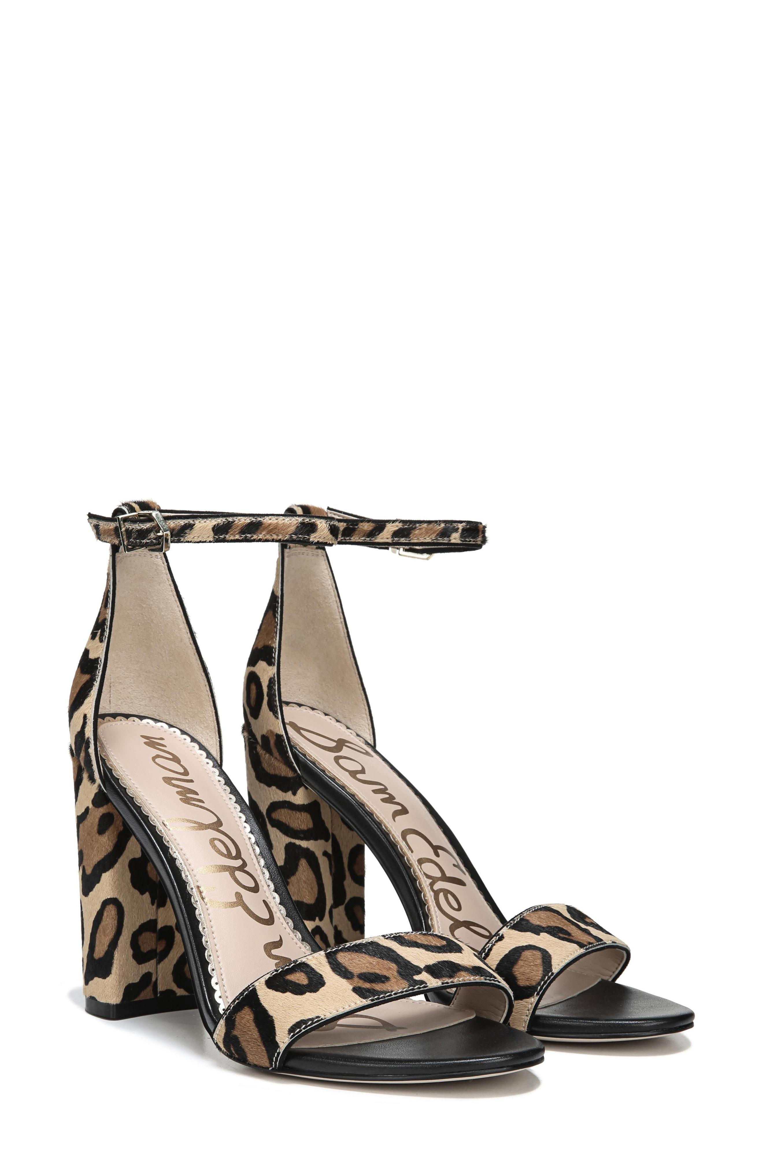 baf58e6dc0229 Sam Edelman. Women s Yaro Leopard Print Brahama Hair Ankle Strap Block Heel  Dress Sandals