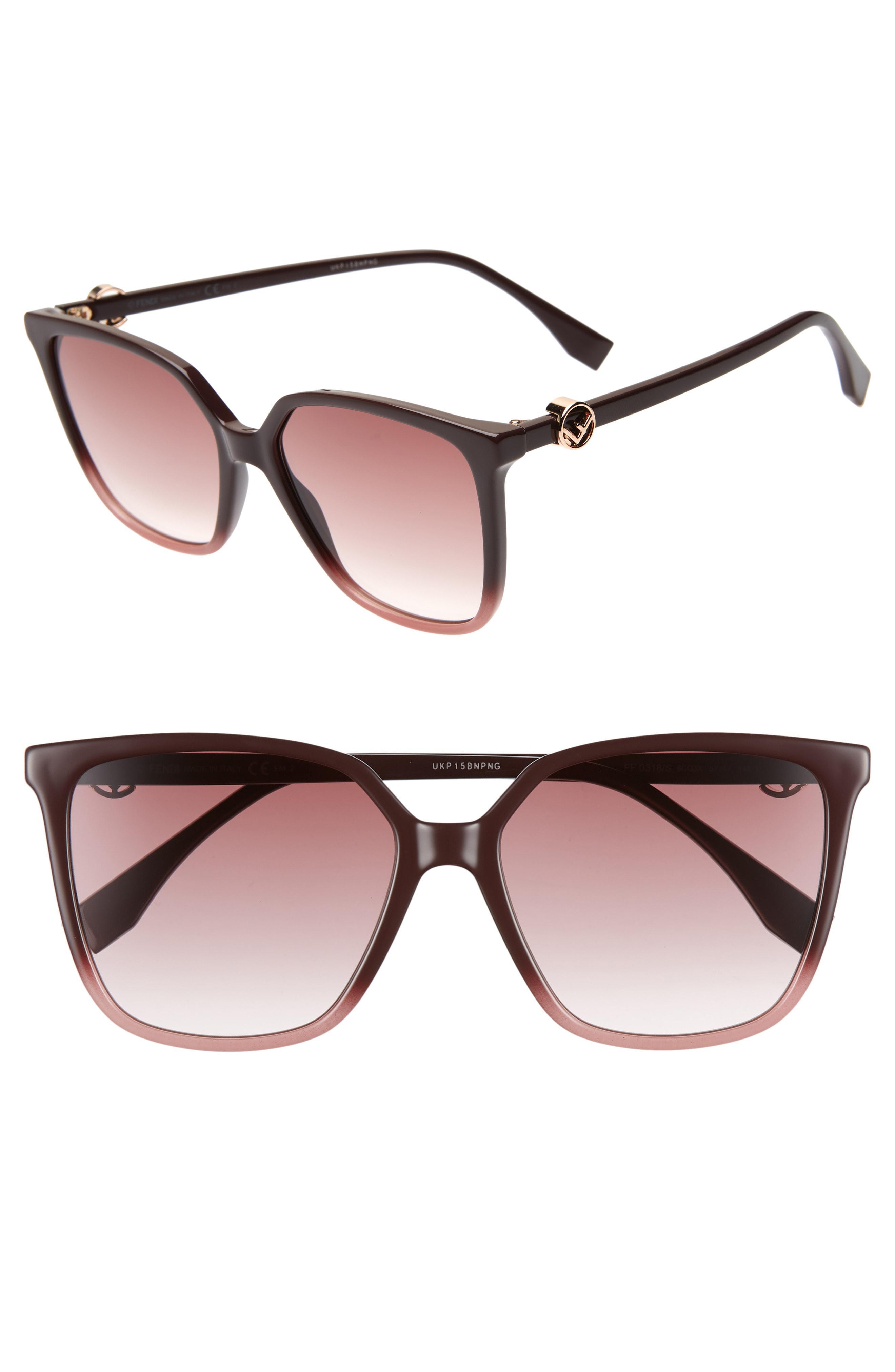 ffd65c7aff8 Lyst - Fendi 57mm Sunglasses - Cherry in Brown